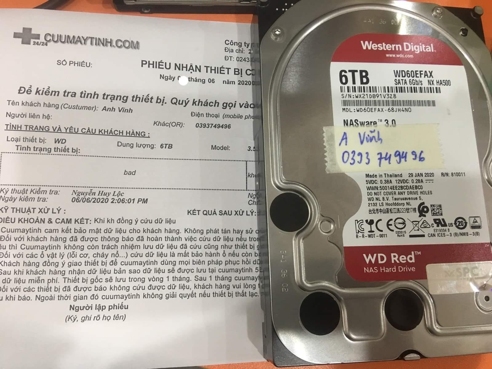 Lấy dữ liệu ổ cứng Western 6TB bad 20/06/2020 - cuumaytinh