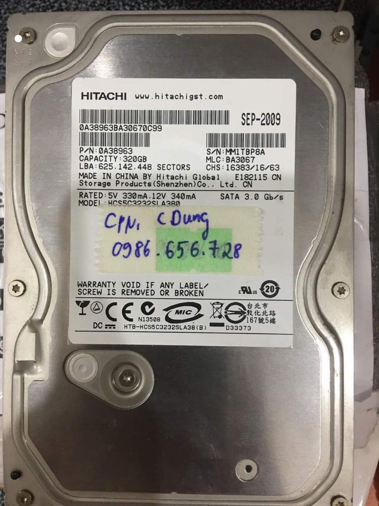 Phục hồi dữ liệu ổ cứng Hitachi 320GB đầu đọc kém 27/06/2020 - cuumaytinh