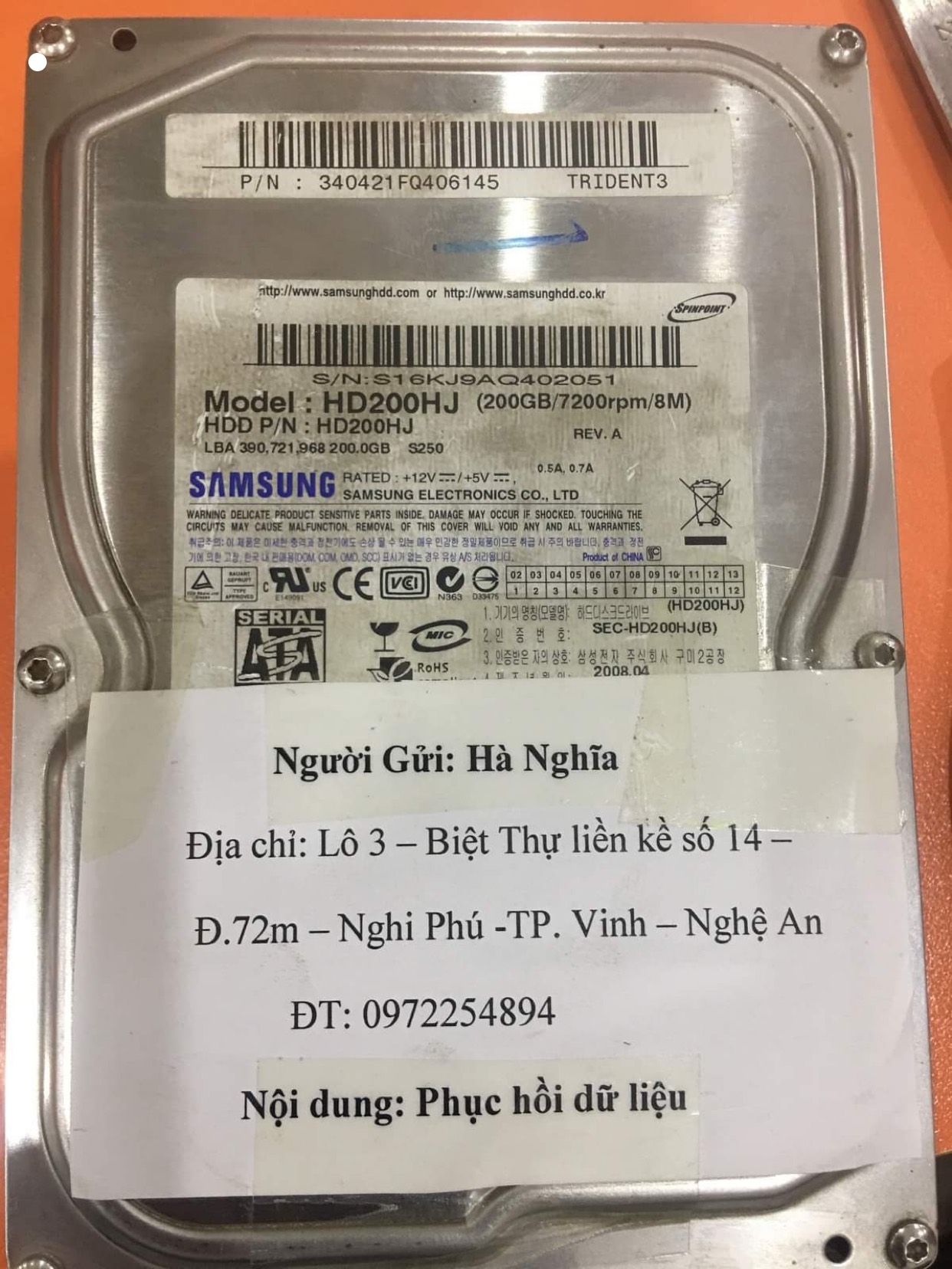 Phục hồi dữ liệu ổ cứng Samsung 200GB lỗi cơ tại Nghệ An 15/06/2020 - cuumaytinh