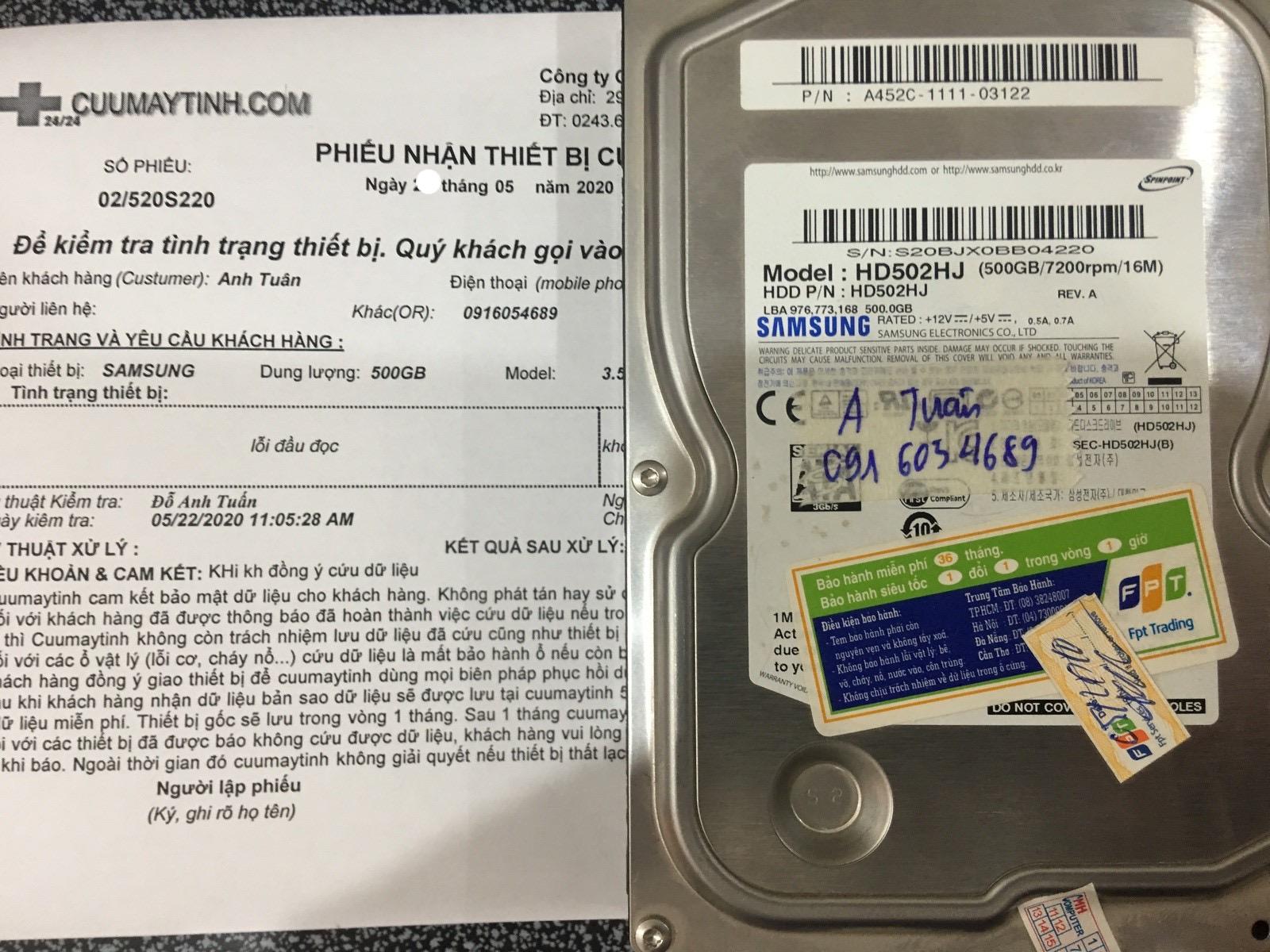 Phục hồi dữ liệu ổ cứng Samsung 500GB lỗi đầu đọc 29/05/2020 - cuumaytinh