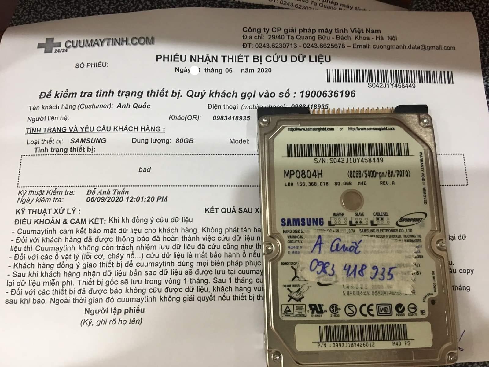 Phục hồi dữ liệu ổ cứng Samsung 80GB bad 12/06/2020 - cuumaytinh