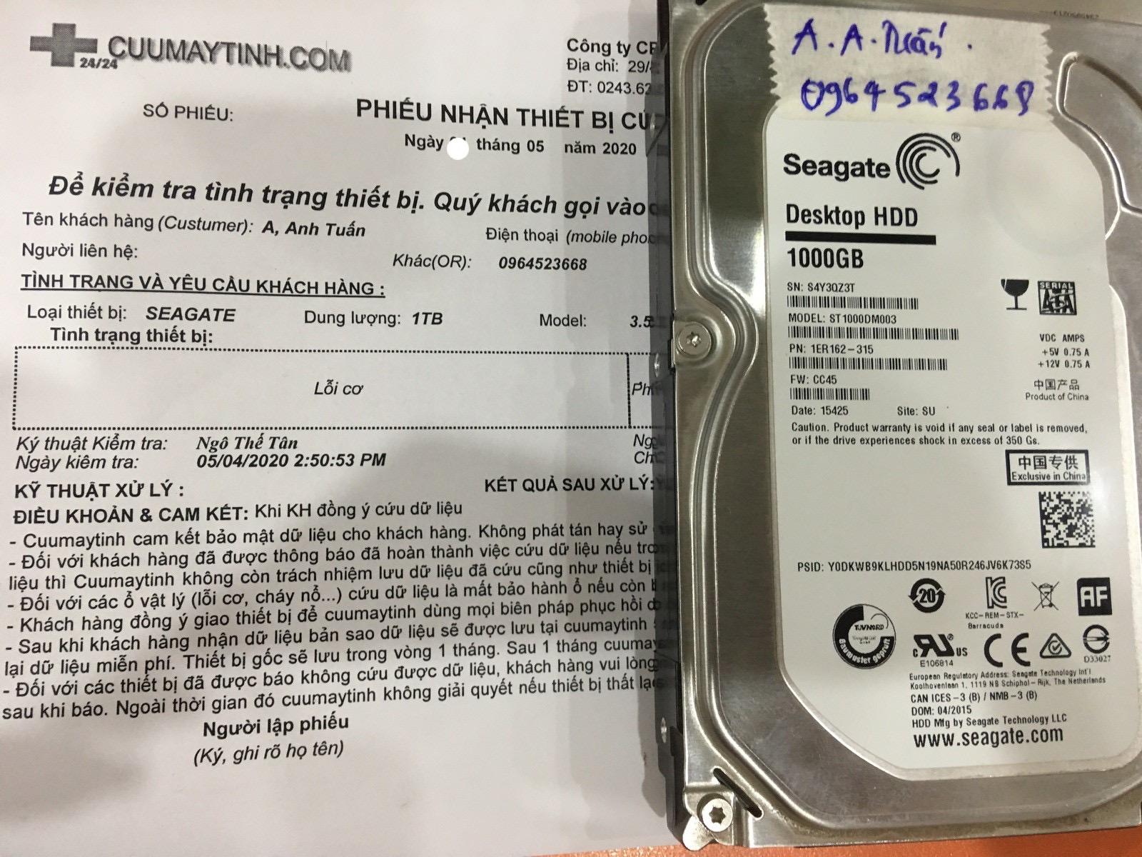Phục hồi dữ liệu ổ cứng Seagate 1TB lỗi cơ 30/05/2020 - cuumaytinh
