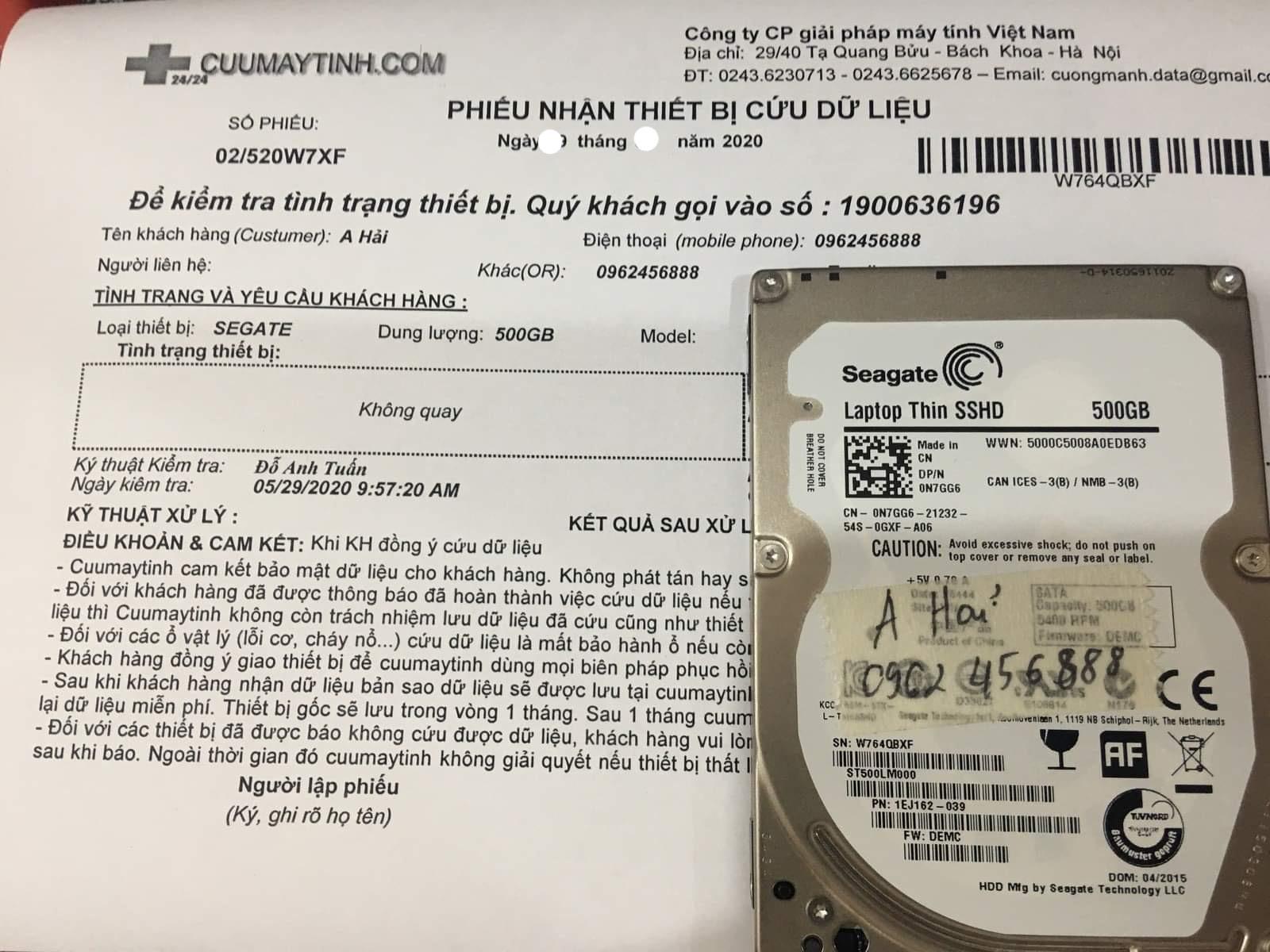 Phục hồi dữ liệu ổ cứng Seagate 500GB không nhận 10/06/2020 - cuumaytinh
