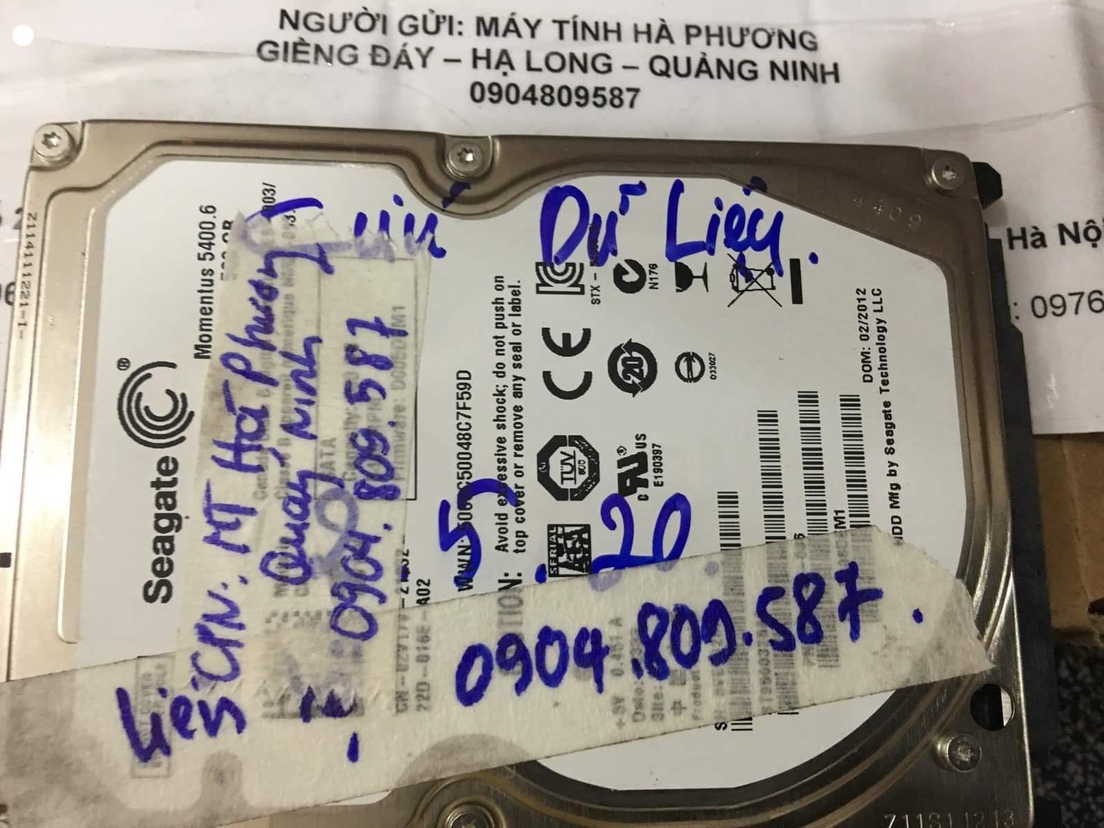 Phục hồi dữ liệu ổ cứng Seagate 500GB lỗi đầu đọc tại Quảng Ninh 04/06/2020 - cuumaytinh