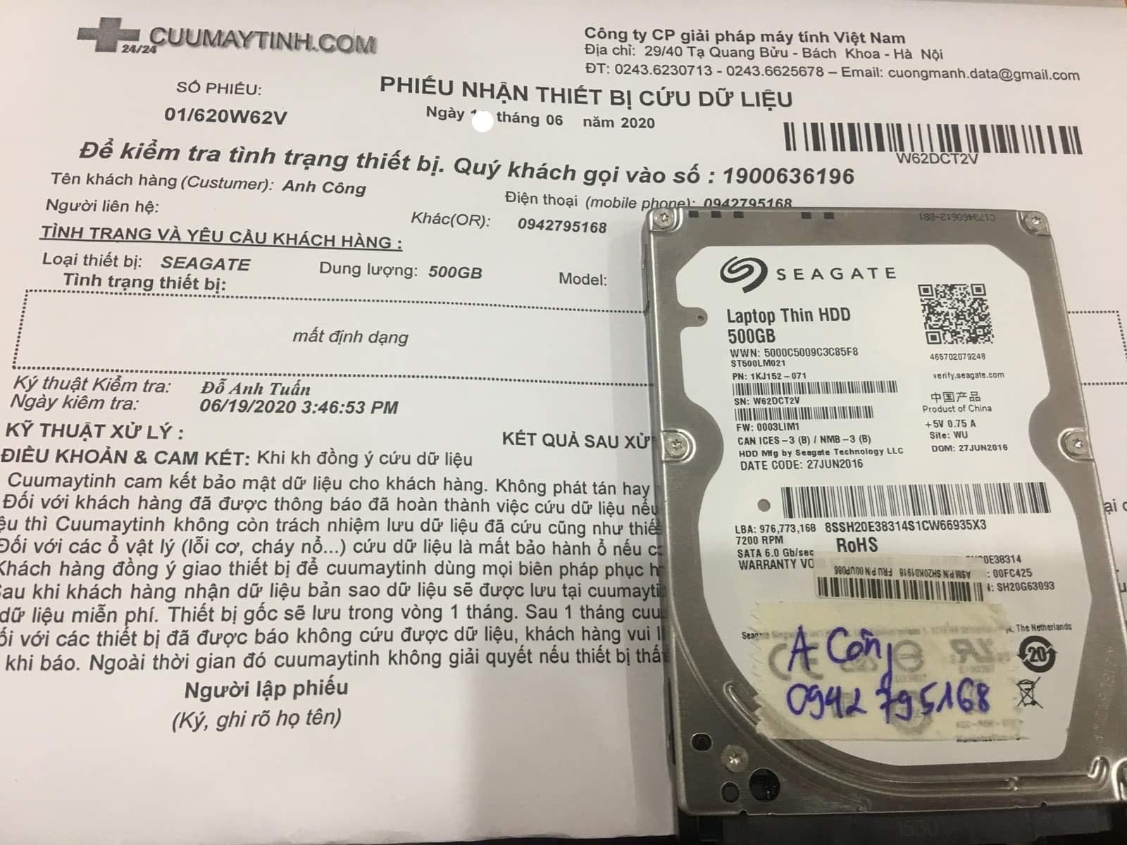 Phục hồi dữ liệu ổ cứng Seagate 500GB mất định dạng 22/06/2020 - cuumaytinh