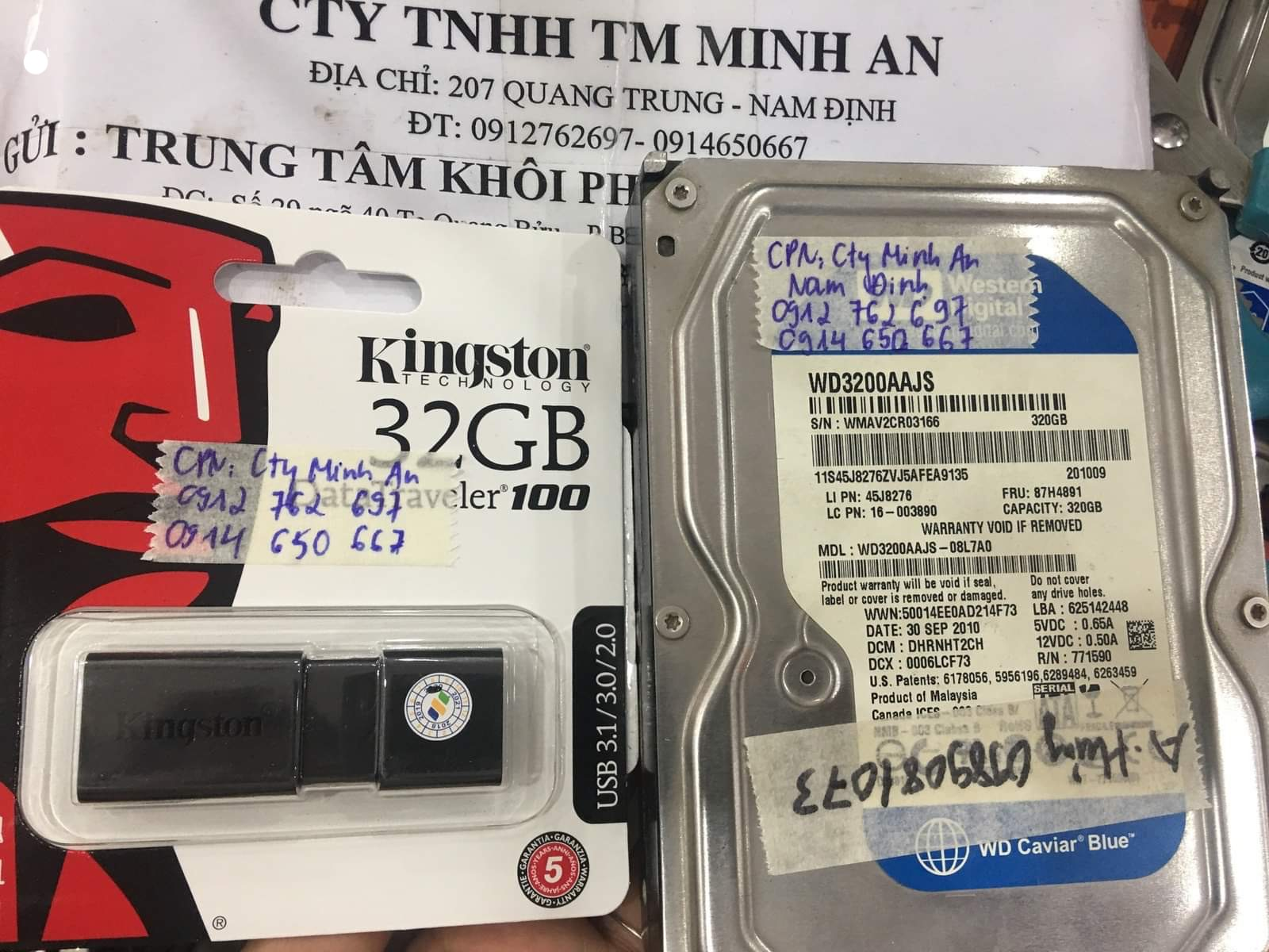 Phục hồi dữ liệu ổ cứng Western 320GB lỗi cơ tại Nam Định 05/06/2002 - cuumaytinh
