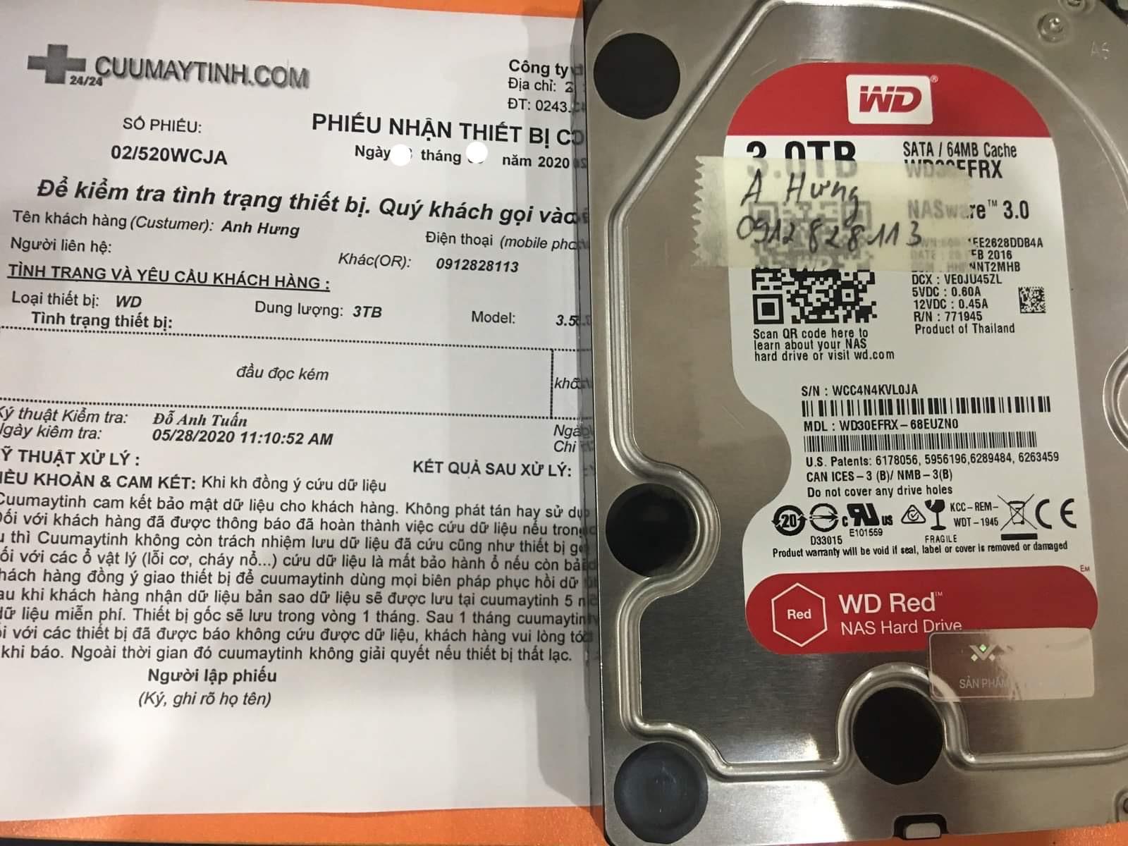 Phục hồi dữ liệu ổ cứng Western 3TB đầu đọc kém 03/06/2020 - cuumaytinh