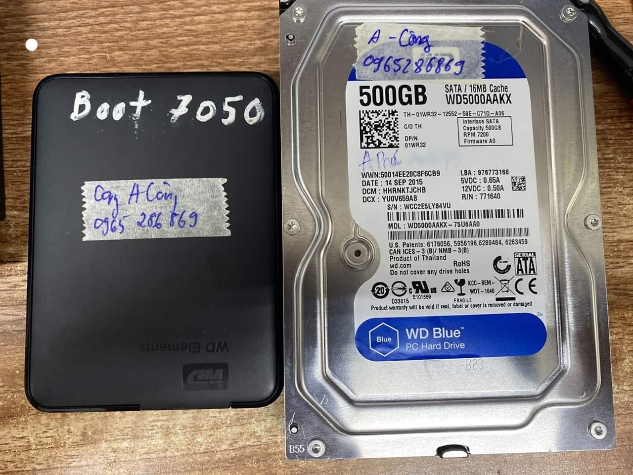 Phục hồi dữ liệu ổ cứng Western 500GB đầu đọc kém 17/06/2020 - cuumaytinh