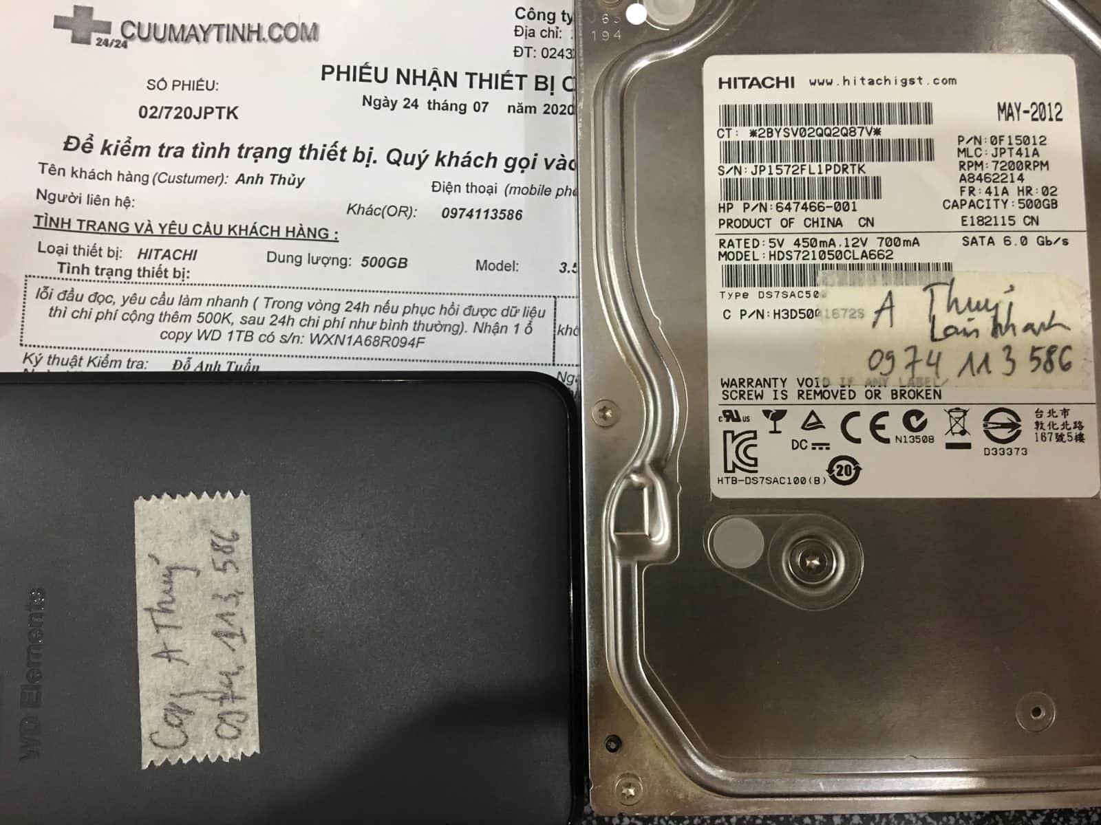 Cứu dữ liệu ổ cứng Hitachi 500GB lỗi đầu đọc 24/07/2020 - cuumaytinh