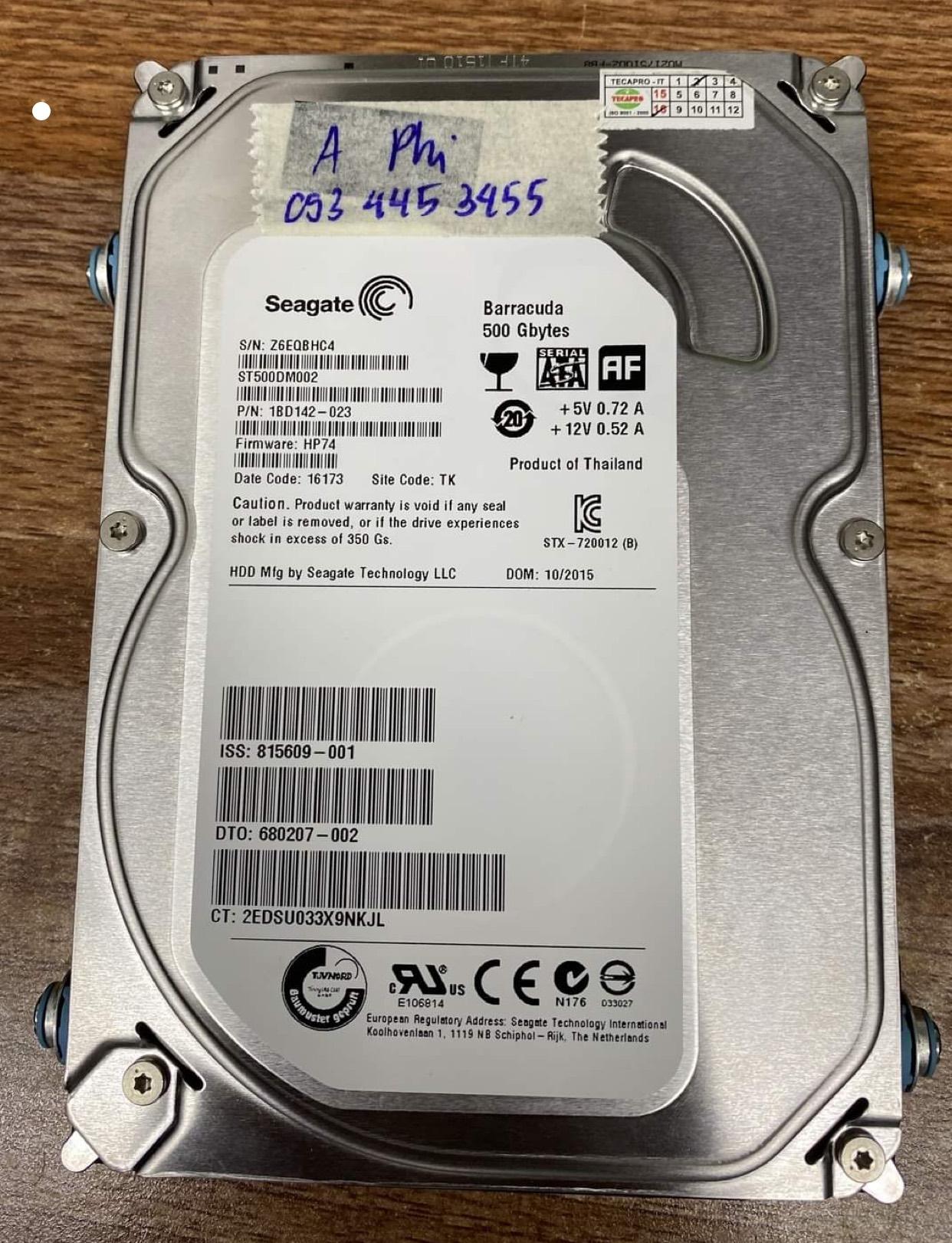 Cứu dữ liệu ổ cứng Seagate 500GB đầu đọc kém 02/07/2020 - cuumaytinh