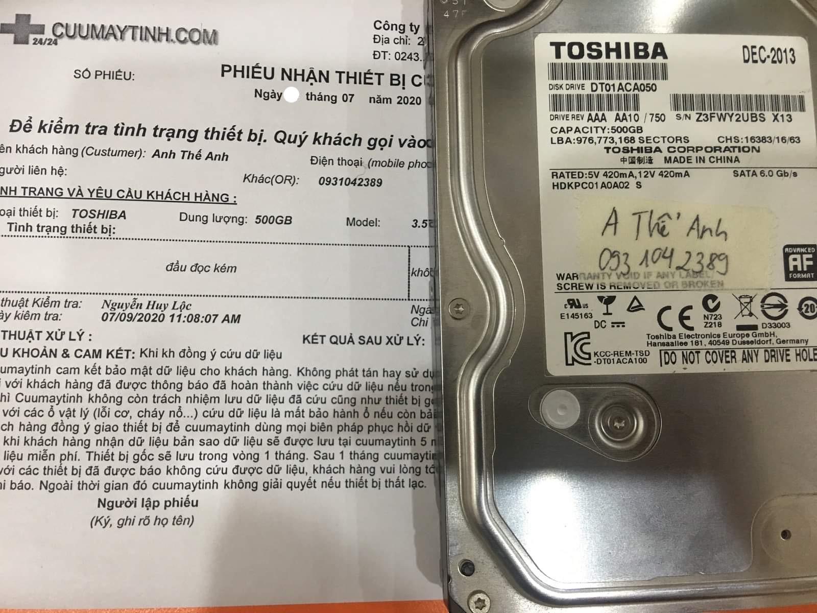 Cứu dữ liệu ổ cứng Toshiba 500GB lỗi đầu đọc 10/07/2020 - cuumaytinh