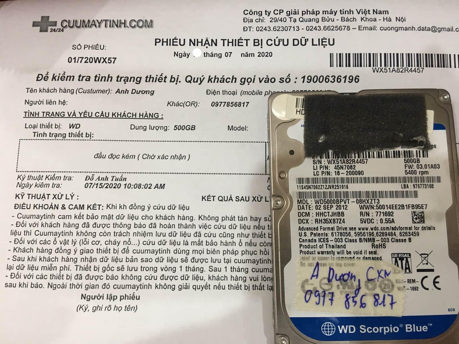 Cứu dữ liệu ổ cứng Western 500GB đầu đọc kém 21/07/2020 - cuumaytinh