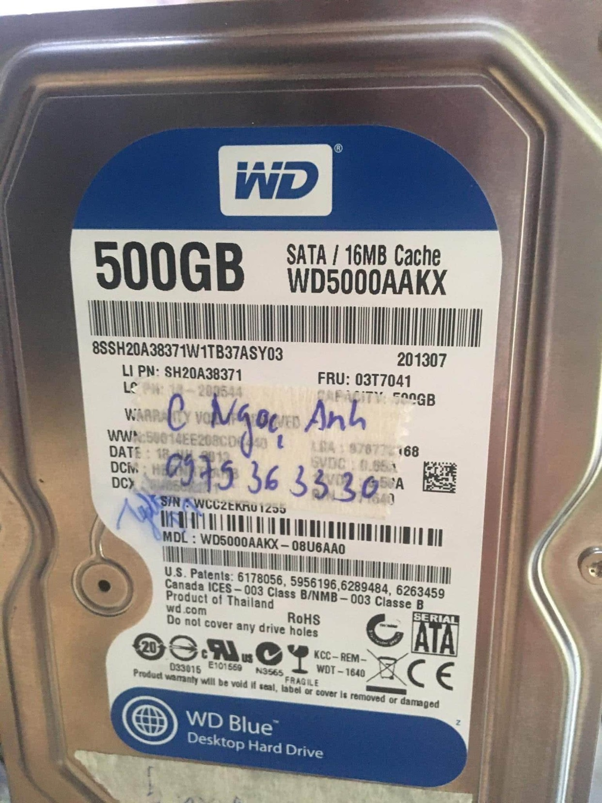 Cứu dữ liệu ổ cứng Western 500GB lỗi đầu đọc 15/07/2020 - cuumaytinh