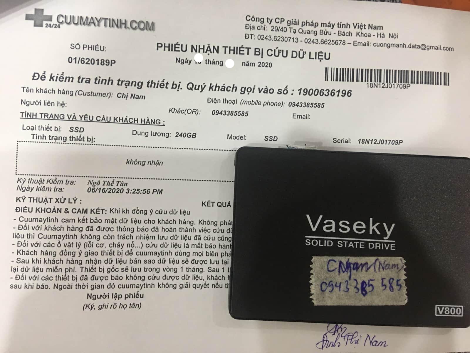 Khôi phục dữ liệu ổ cứng SSD 240GB không nhận 16/07/2020 - cuumaytinh