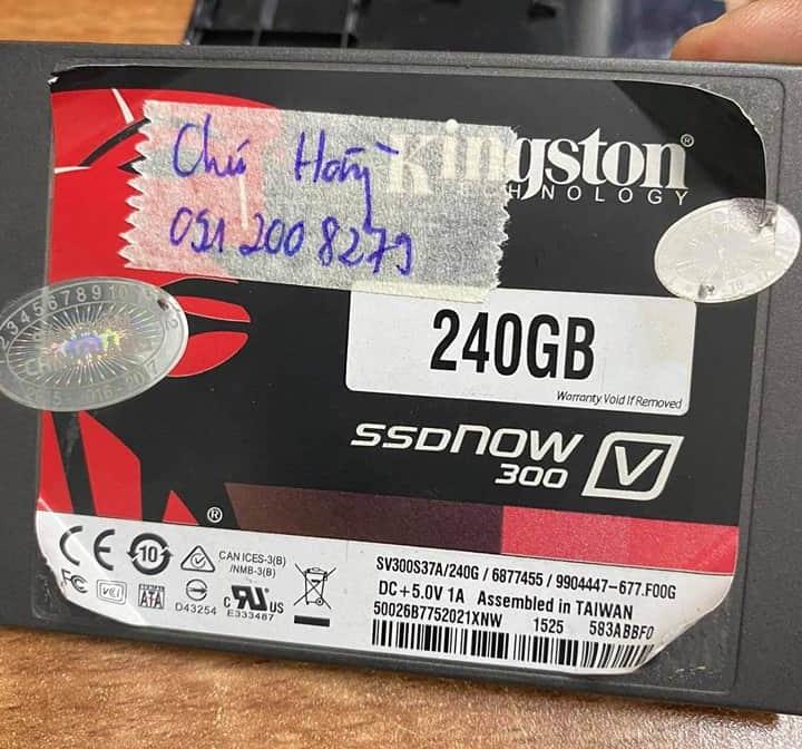 Khôi phục dữ liệu ổ cứng SSD Kingston 240GB không nhận 24/07/2020 - cuumaytinh