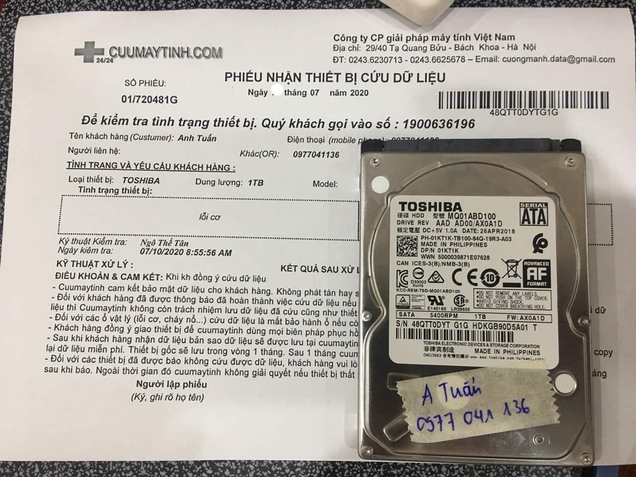 Khôi phục dữ liệu ổ cứng Toshiba 1TB lỗi cơ 20/07/2020 - cuumaytinh