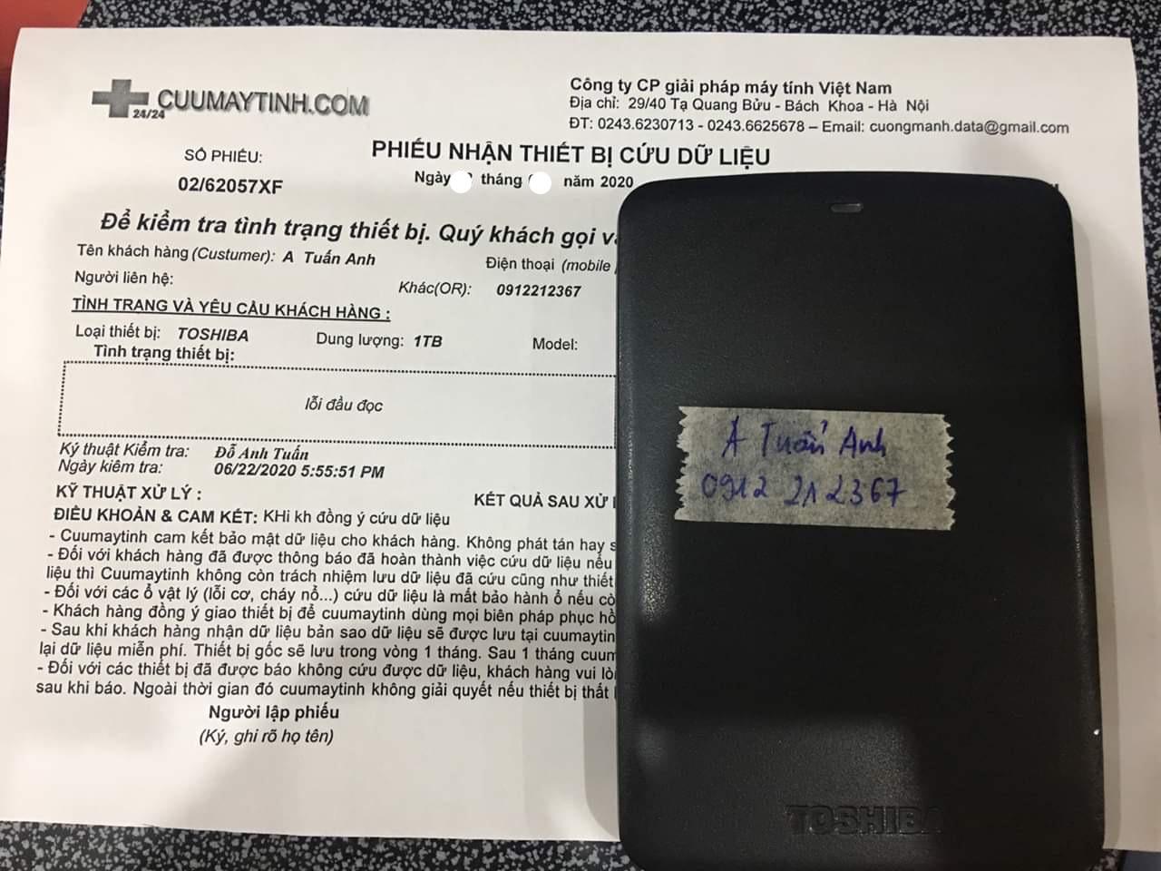 Khôi phục dữ liệu ổ cứng Toshiba 1TB lỗi đầu đọc 01/07/2020 - cuumaytinh