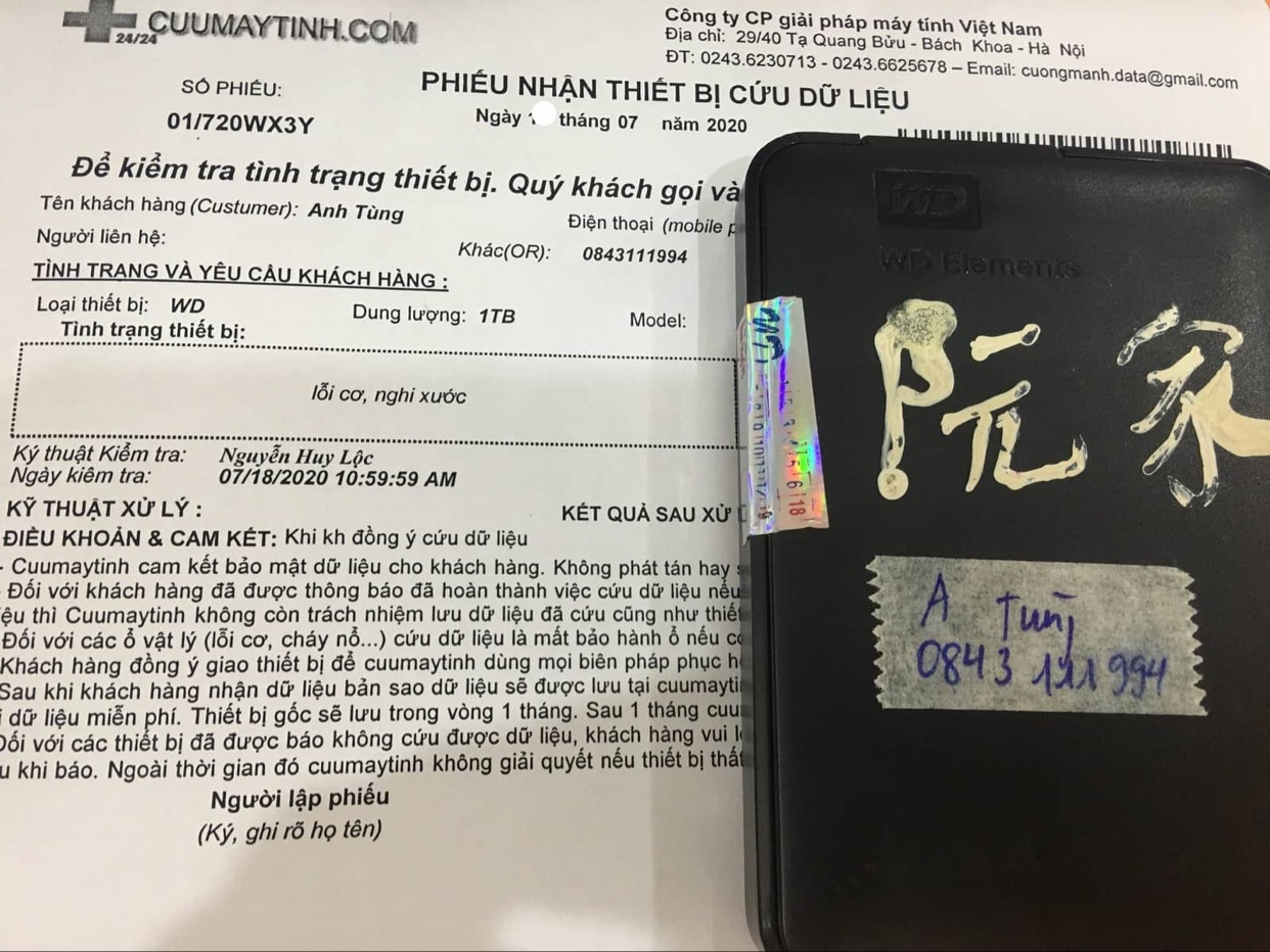 Khôi phục dữ liệu ổ cứng Western 1TB lỗi cơ 25/07/2020 - cuumaytinh