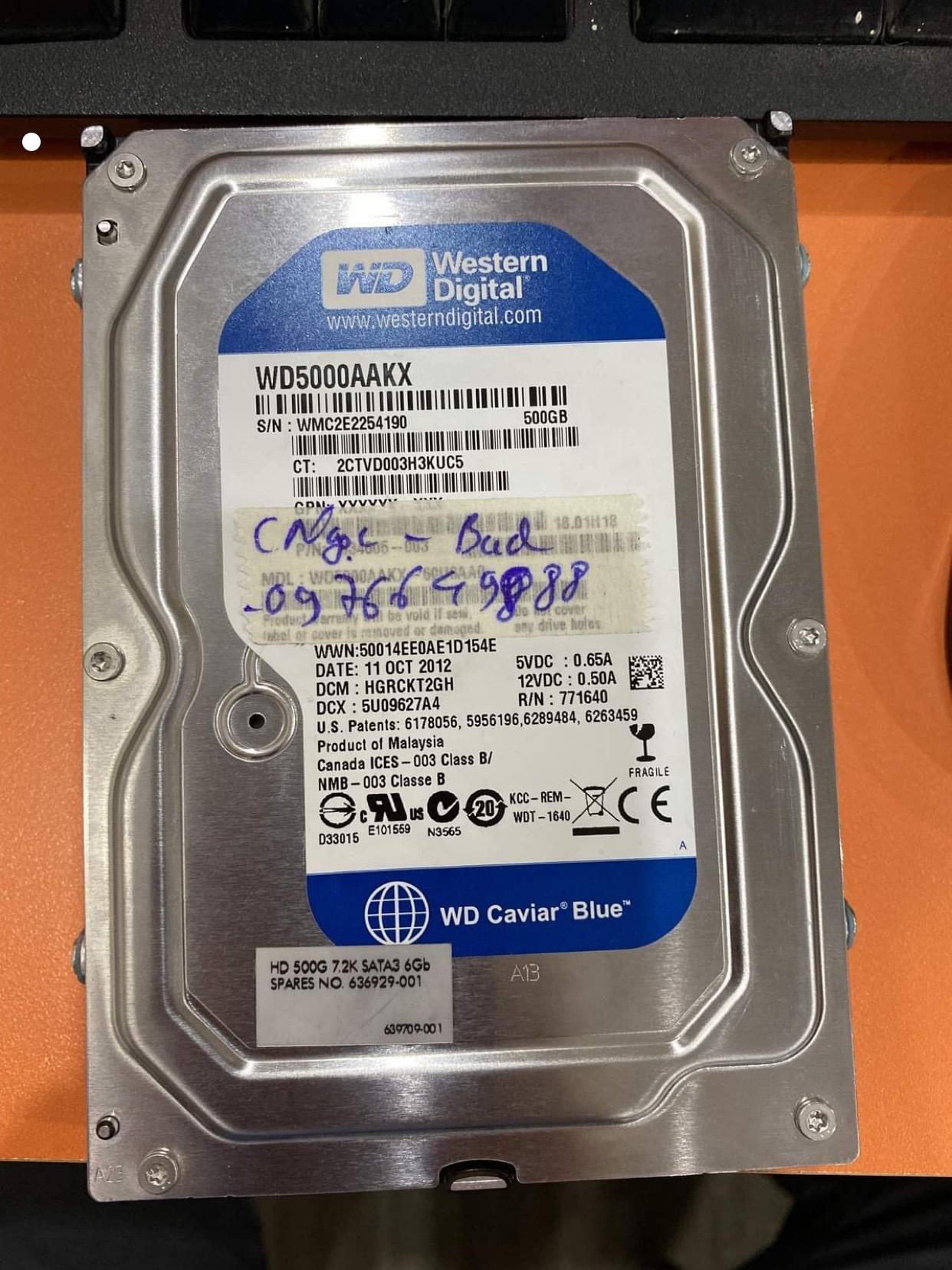 Khôi phục dữ liệu ổ cứng Western 500GB bad 13/07/2020 - cuumaytinh