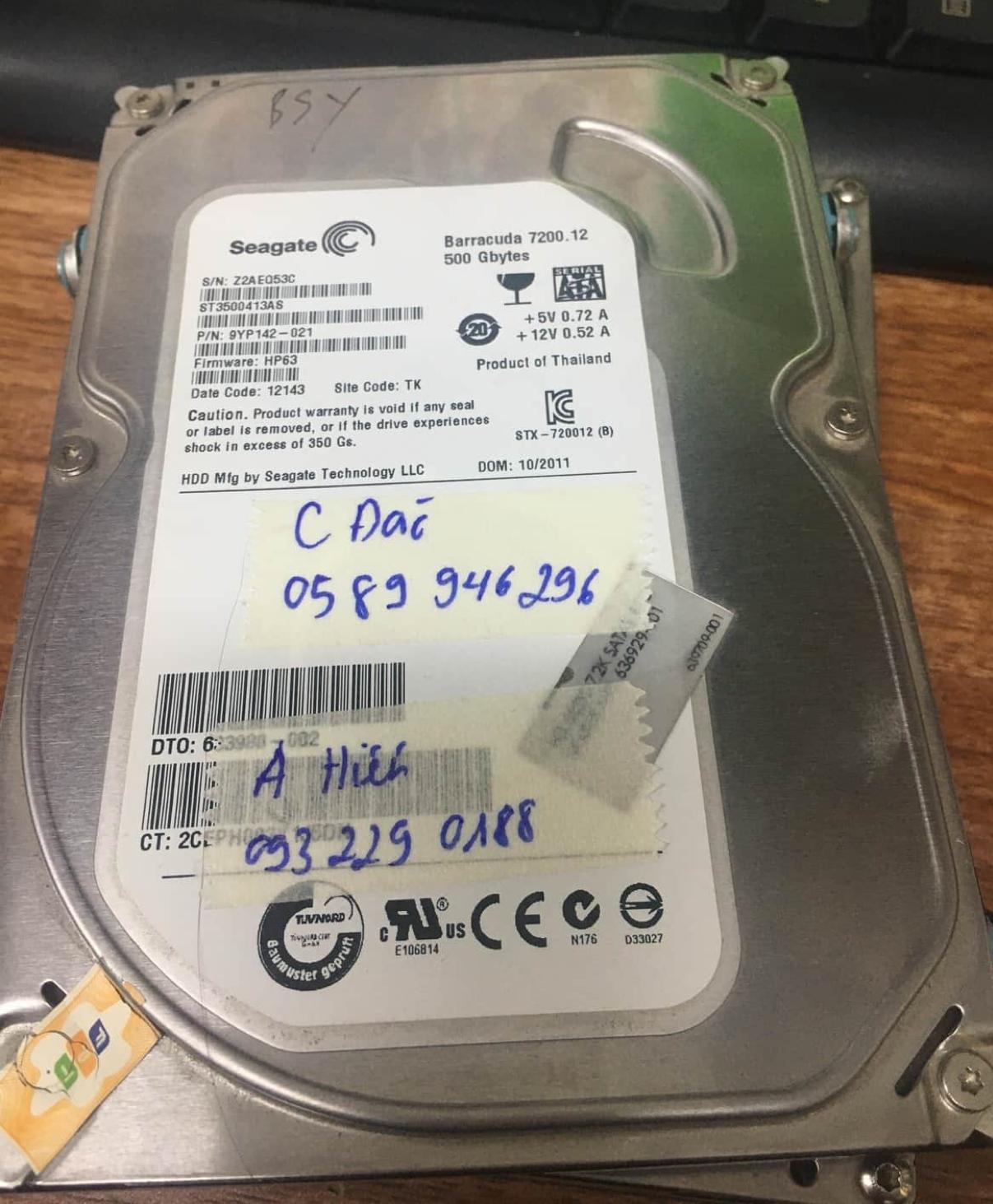 Lấy dữ liệu ổ cứng Seagate 500GB đầu đọc kém 18/07/2020 - cuumaytinh