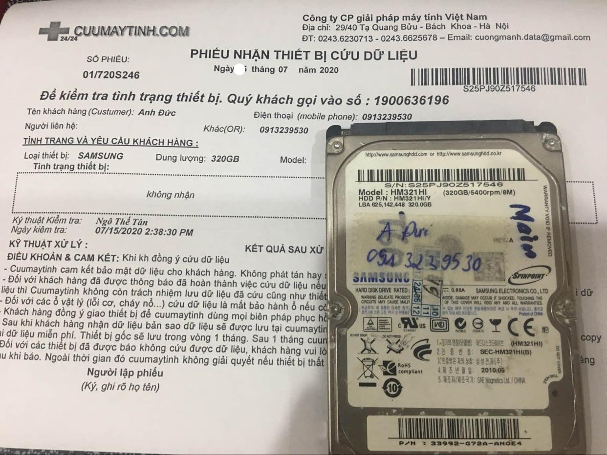 Lấy dữ liệu ổ cứng Samsung 320GB không nhận 28/07/2020 - cuumaytinh