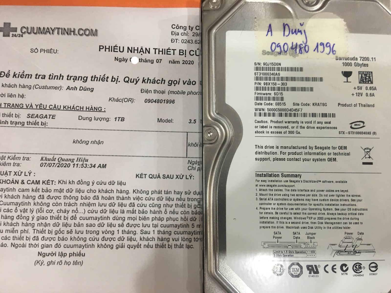 Lấy dữ liệu ổ cứng Seagate 1TB không nhận 15/07/2020 - cuumatinh