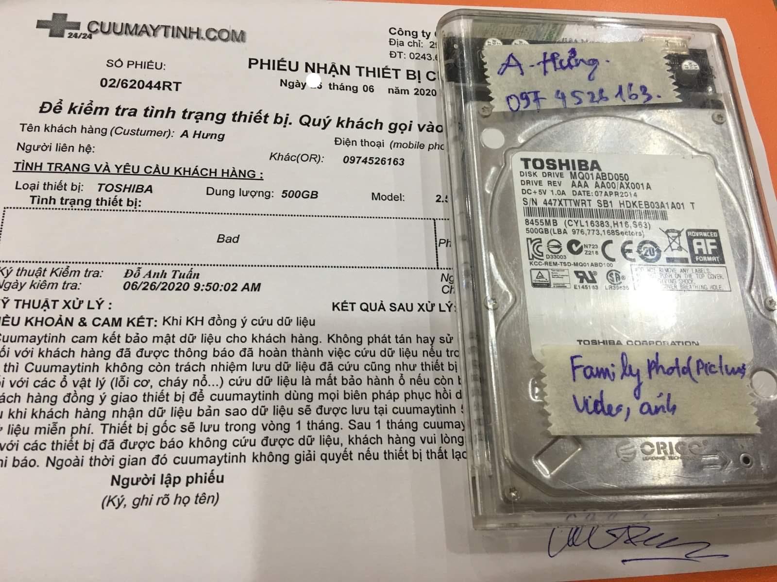 Lấy dữ liệu ổ cứng Toshiba 500GB bad 29/06/2020 - cuumaytinh