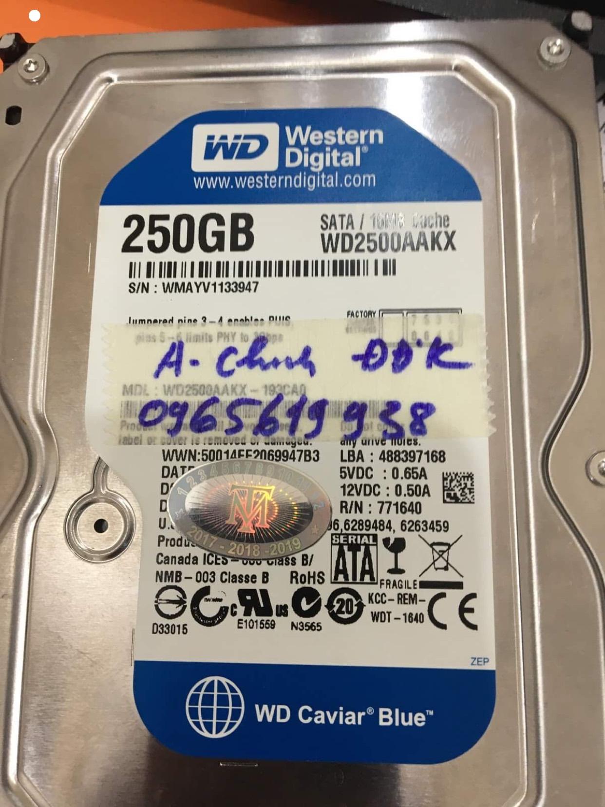 Lấy dữ liệu ổ cứng Western 250GB đầu đọc kém 30/06/2020 - cuumaytinh