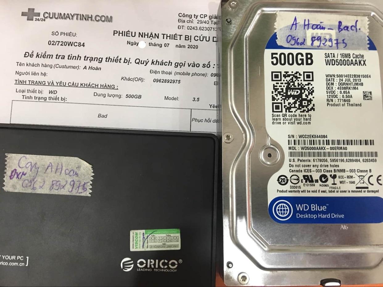 Lấy dữ liệu ổ cứng Western 500GB bad 24/07/2020 - cuumaytinh