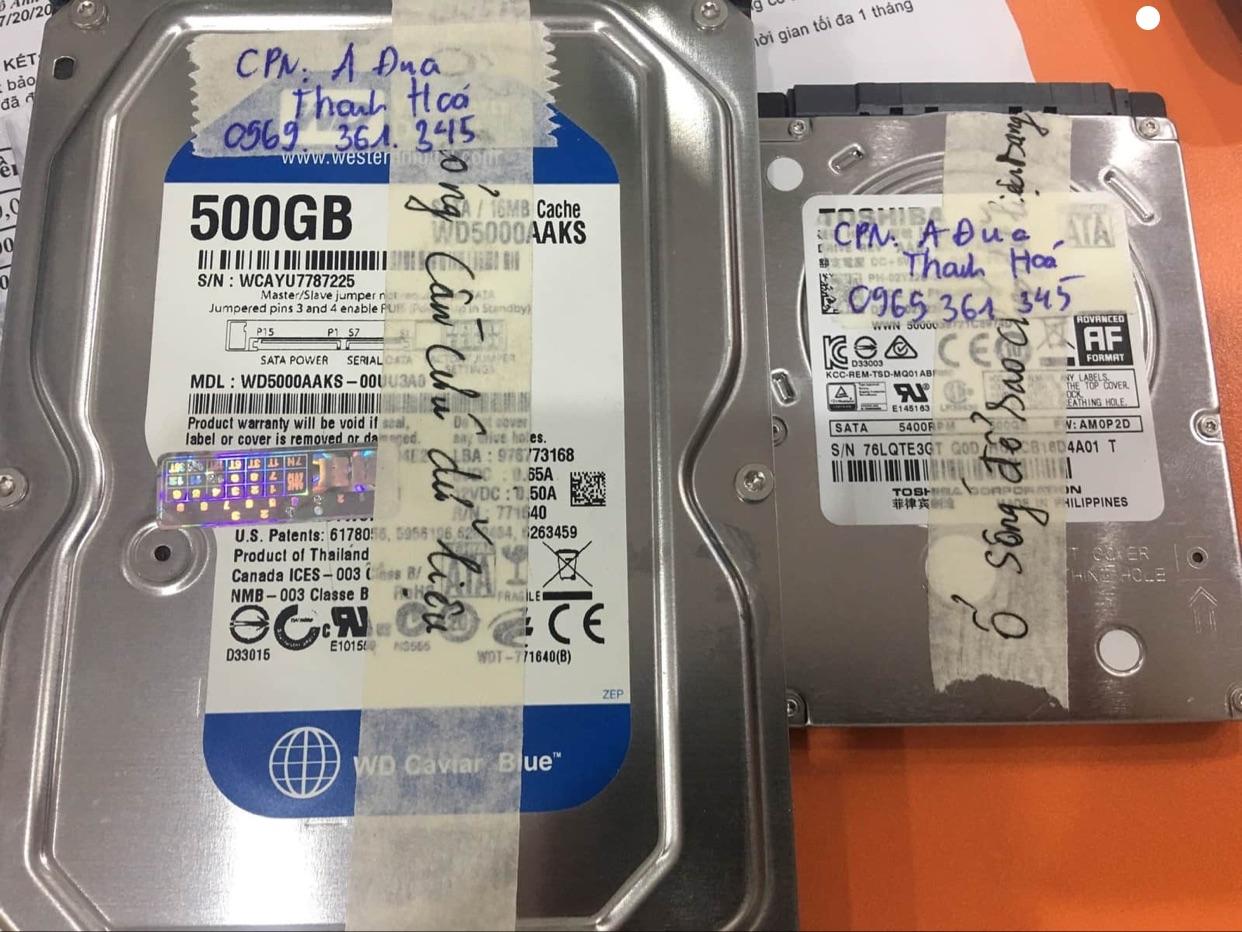 Lấy dữ liệu ổ cứng Western 500GB đầu đọc kém tại Thanh Hóa 27/07/2020 - cuumaytinh