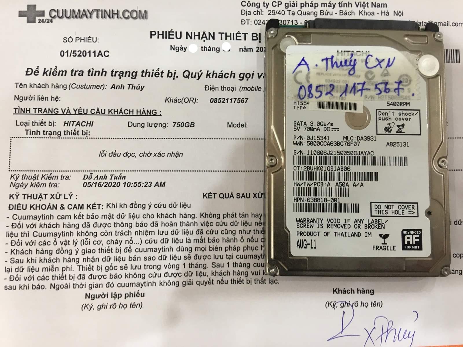 Phục hồi dữ liệu ổ cứng Hitachi 750GB lỗi đầu đọc 02/07/2020 - cuumaytinh