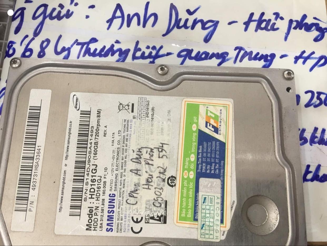 Phục hồi dữ liệu ổ cứng Samsung 160GB lỗi đầu đọc tại Hải Phòng 09/07/2020 - cuumaytinh