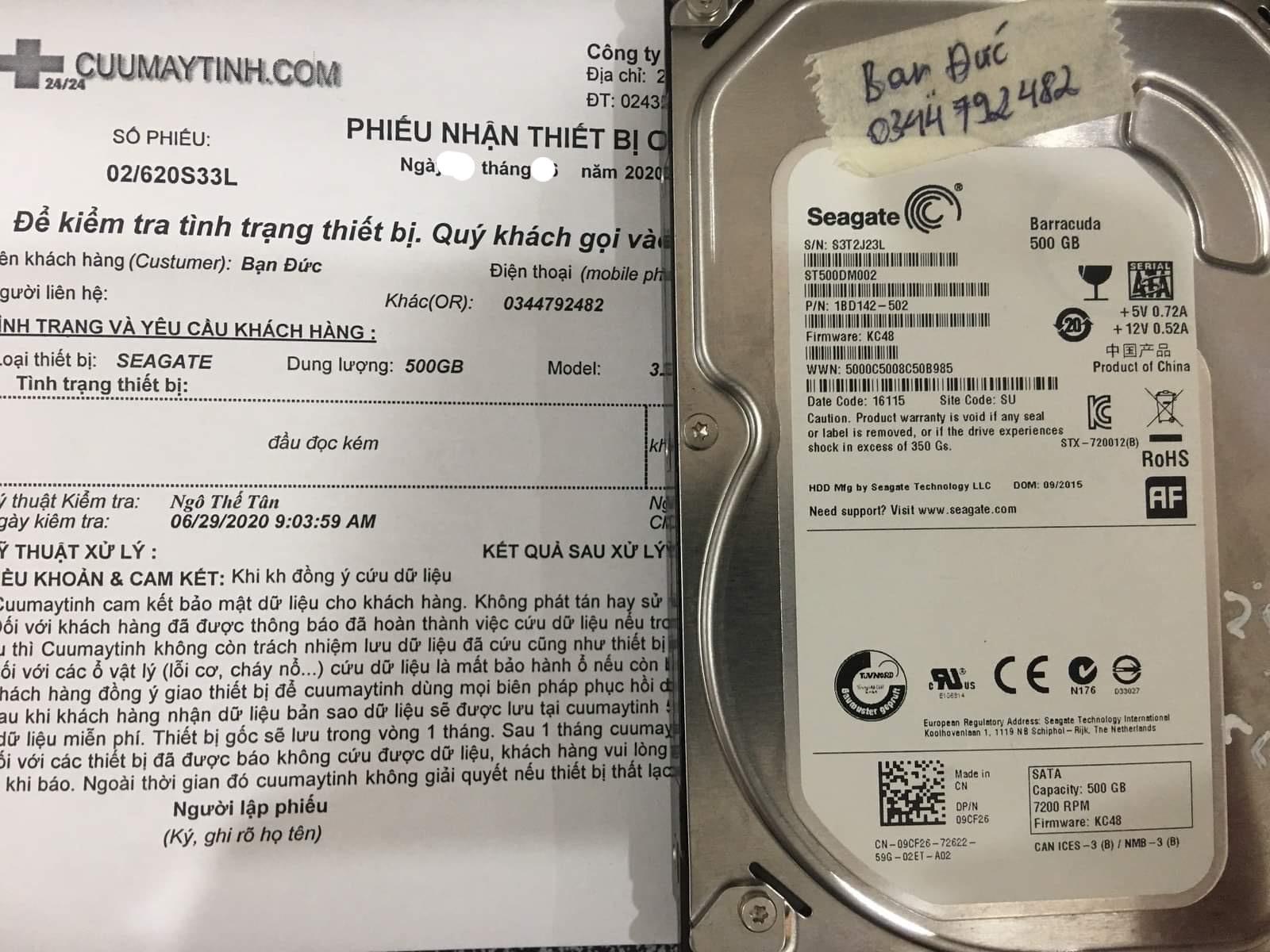 Phục hồi dữ liệu ổ cứng Seagate 500GB đầu đọc kém 04/07/2020 - cuumaytinh
