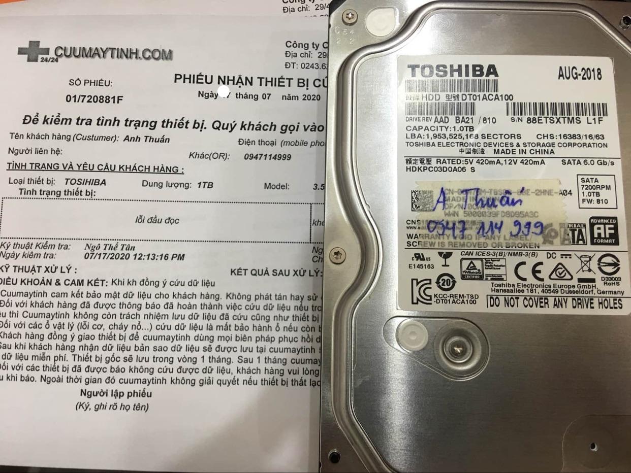 Phục hồi dữ liệu ổ cứng Toshiba 1TB lỗi đầu đọc 16/07/2020 - cuumaytinh