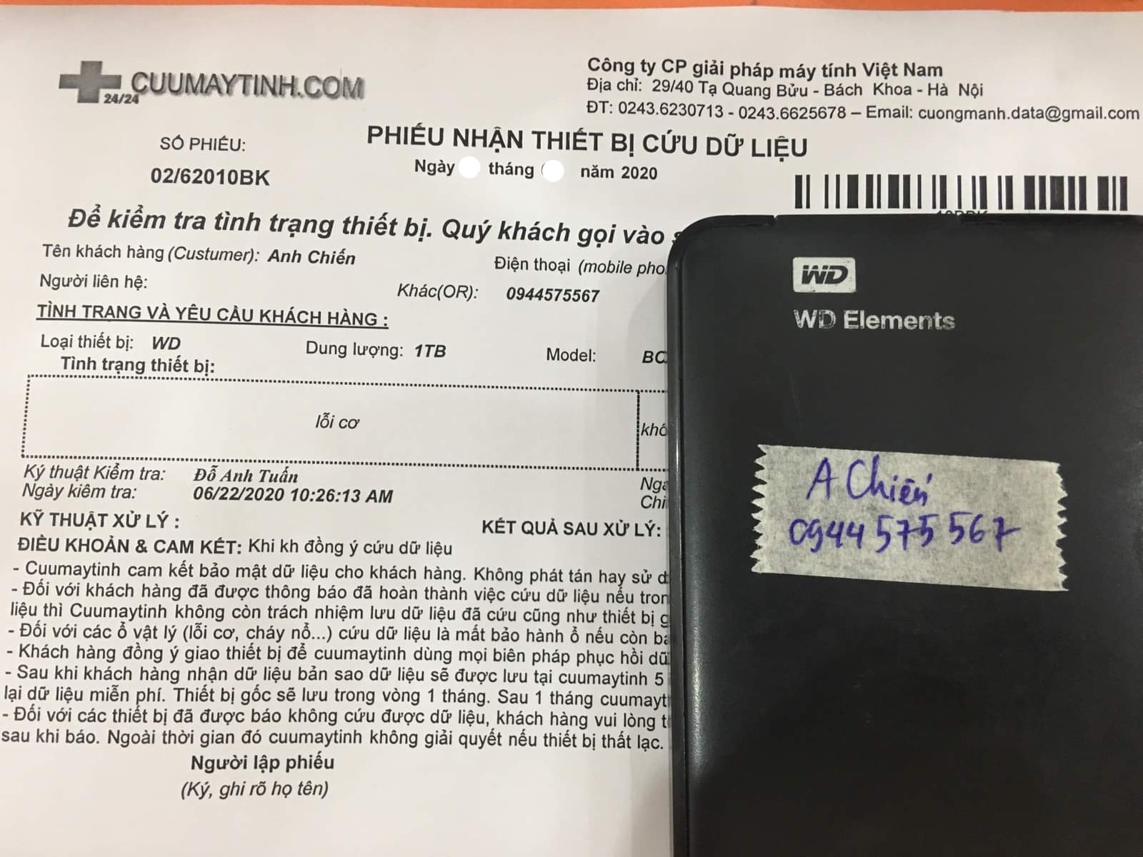 Phục hồi dữ liệu ổ cứng Western 1TB lỗi cơ 03/07/2020 - cuumaytinh