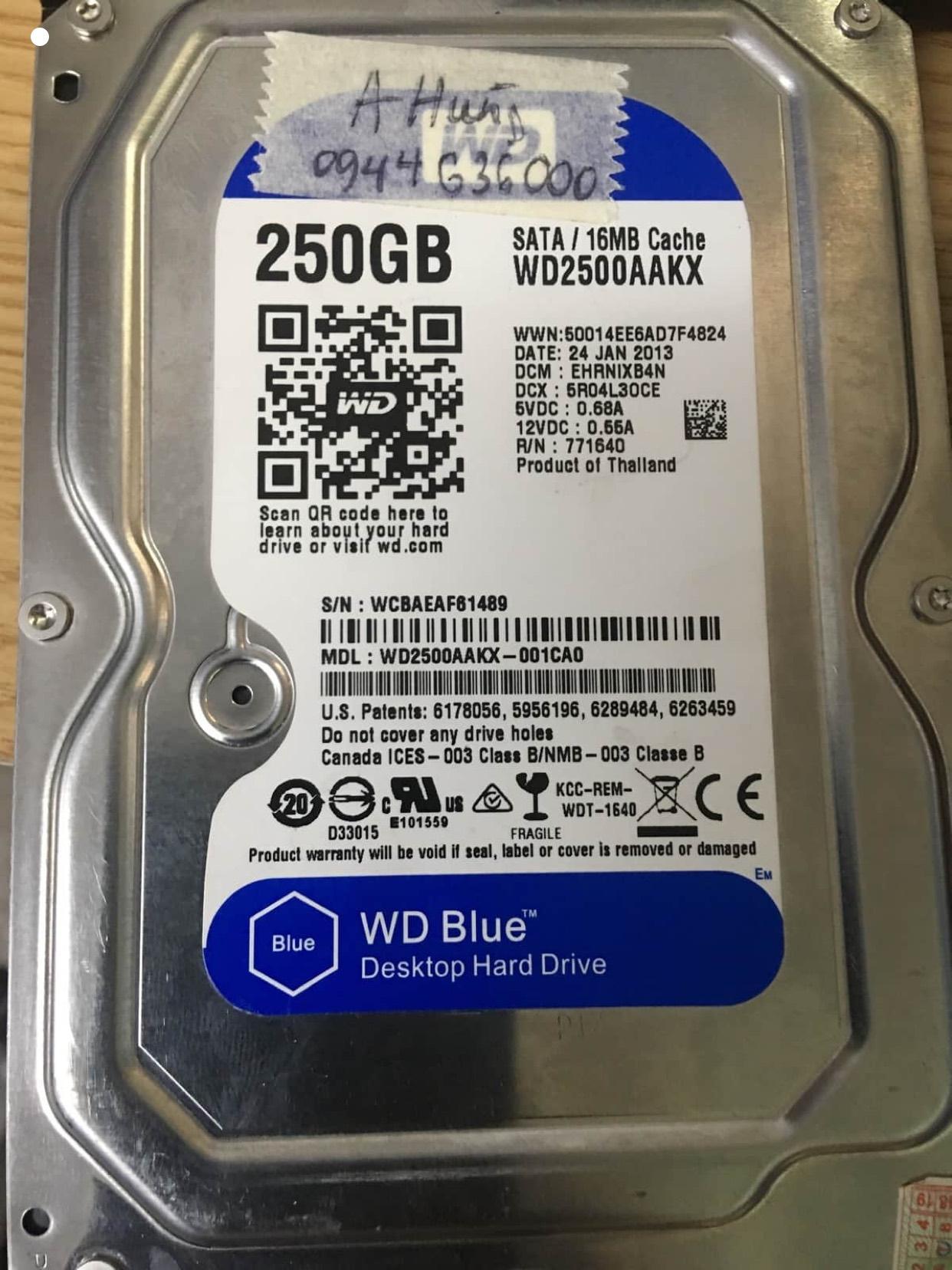 Phục hồi dữ liệu ổ cứng Western 250GB bad 27/07/2020 - cuumaytinh