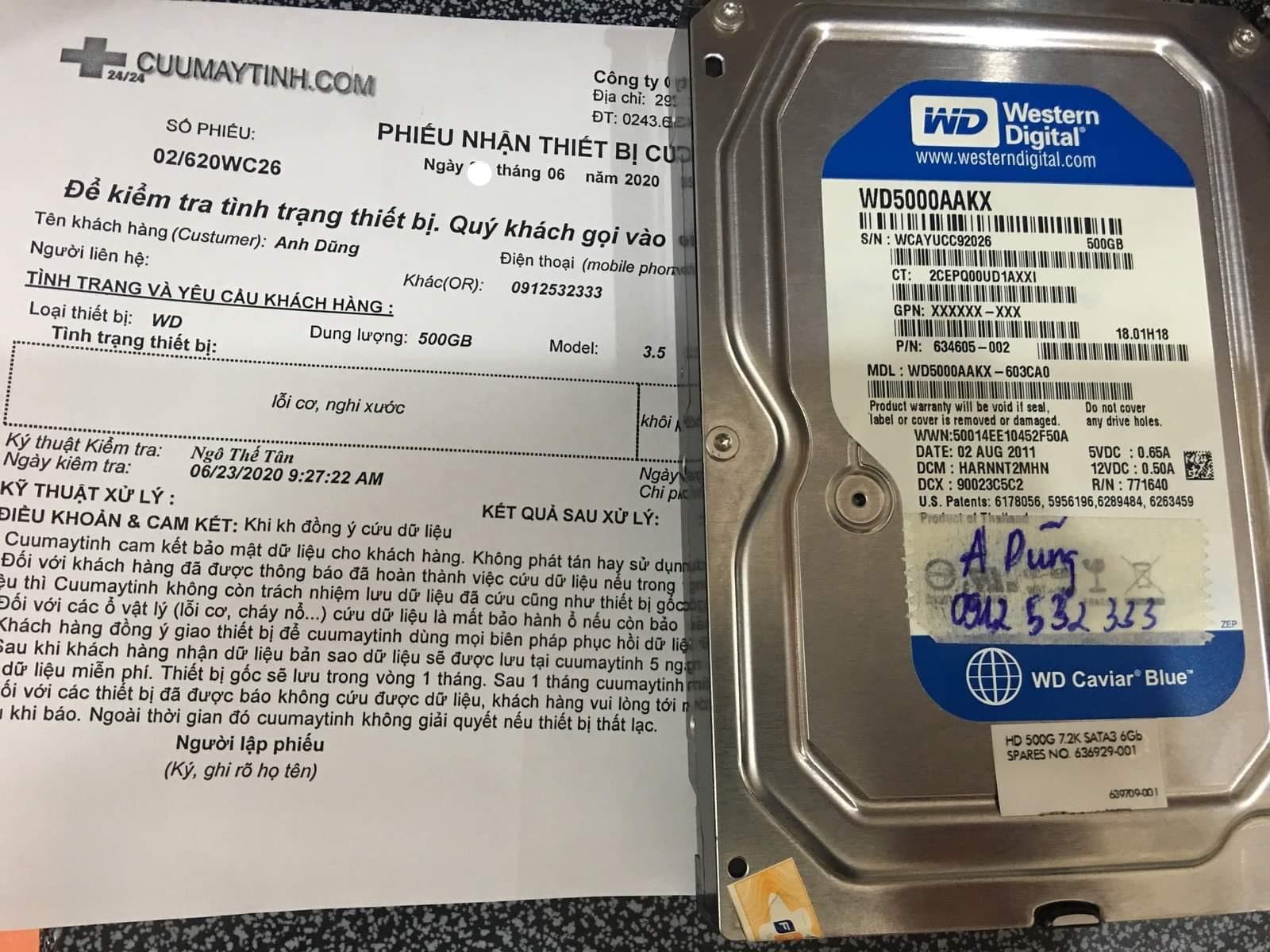 Phục hồi dữ liệu ổ cứng Western 500GB lỗi cơ 29/06/2020 - cuumaytinh