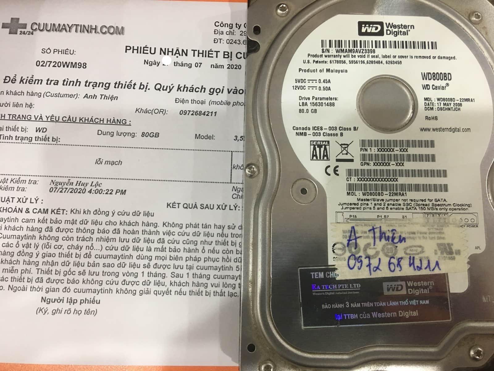 Phục hồi dữ liệu ổ cứng Western 80GB lỗi mạch 28/07/2020 - cuumaytinh