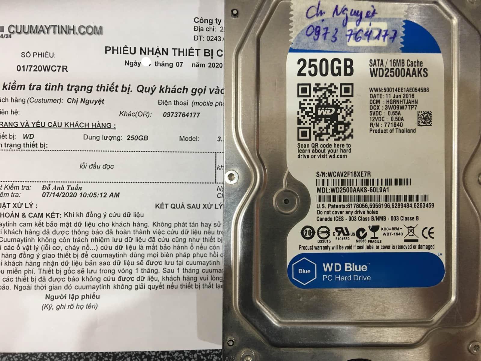 Cứu dữ liệu ổ cứng Western 250GB lỗi đầu đọc 20/07/2020 - cuumaytinh