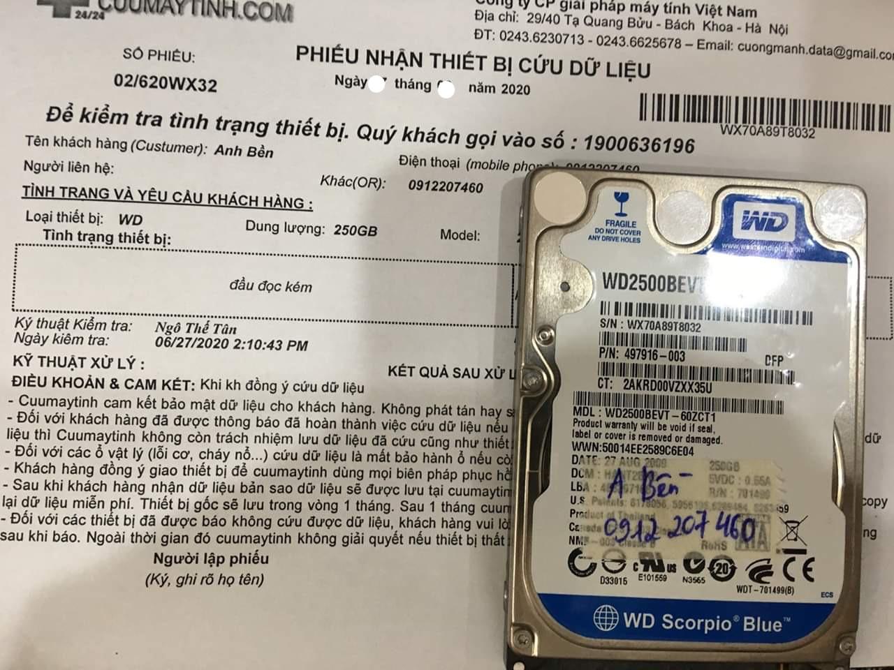 Lấy dữ liệu ổ cứng Western 250GB đầu đọc kém 03/07/2020 - cuumaytinh