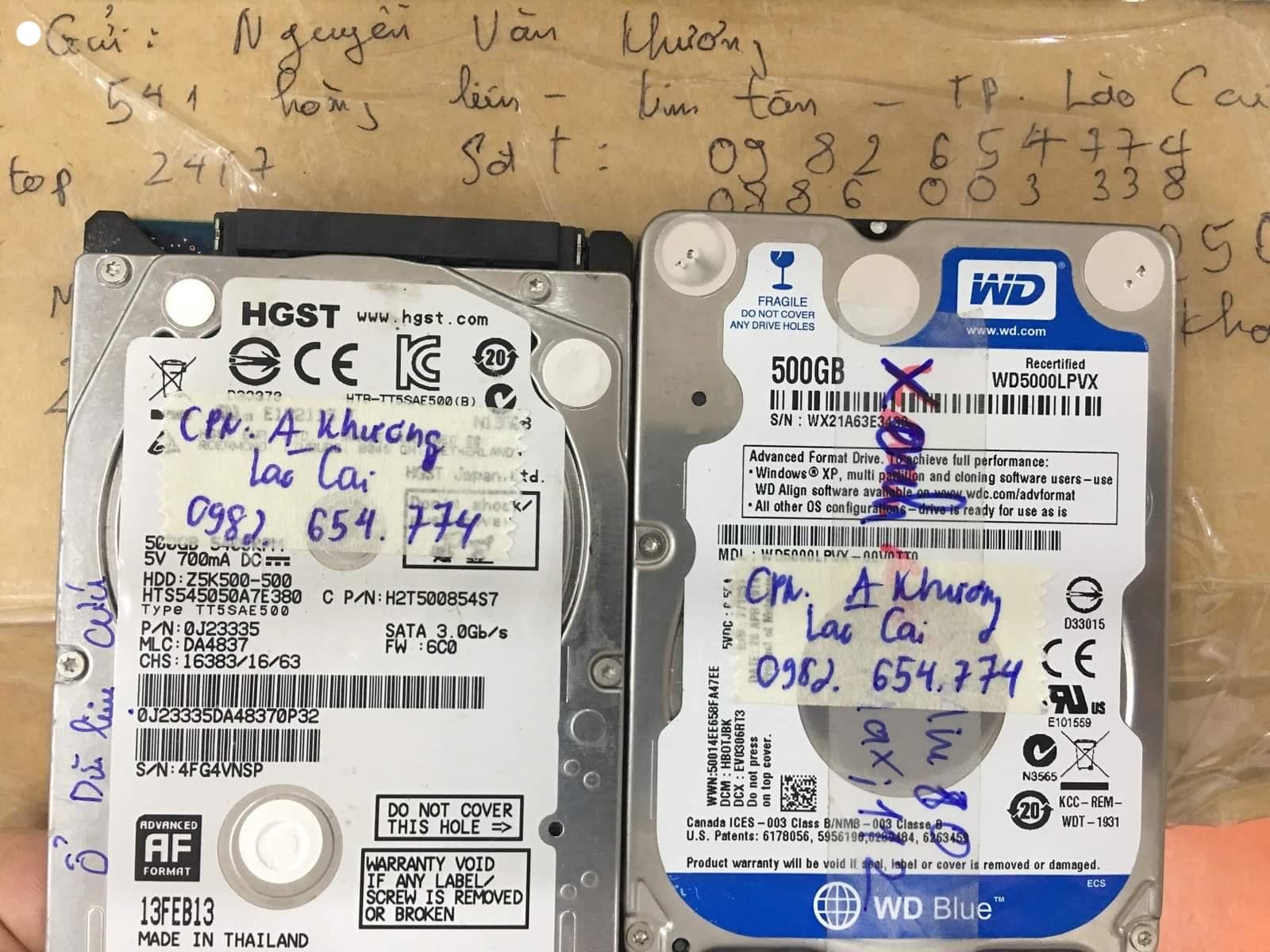 Cứu dữ liệu ổ cứng HGST 500GB nước vào tại Lào Cai 30/07/2020 - cuumaytinh