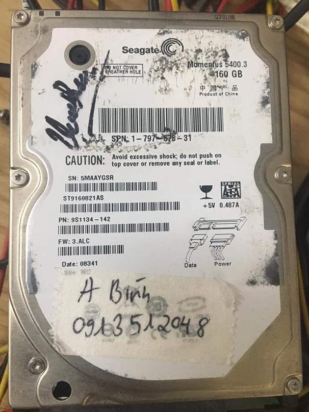 Cứu dữ liệu ổ cứng Seagate 160GB đầu đọc kém 20/08/2020  - cuumaytinh