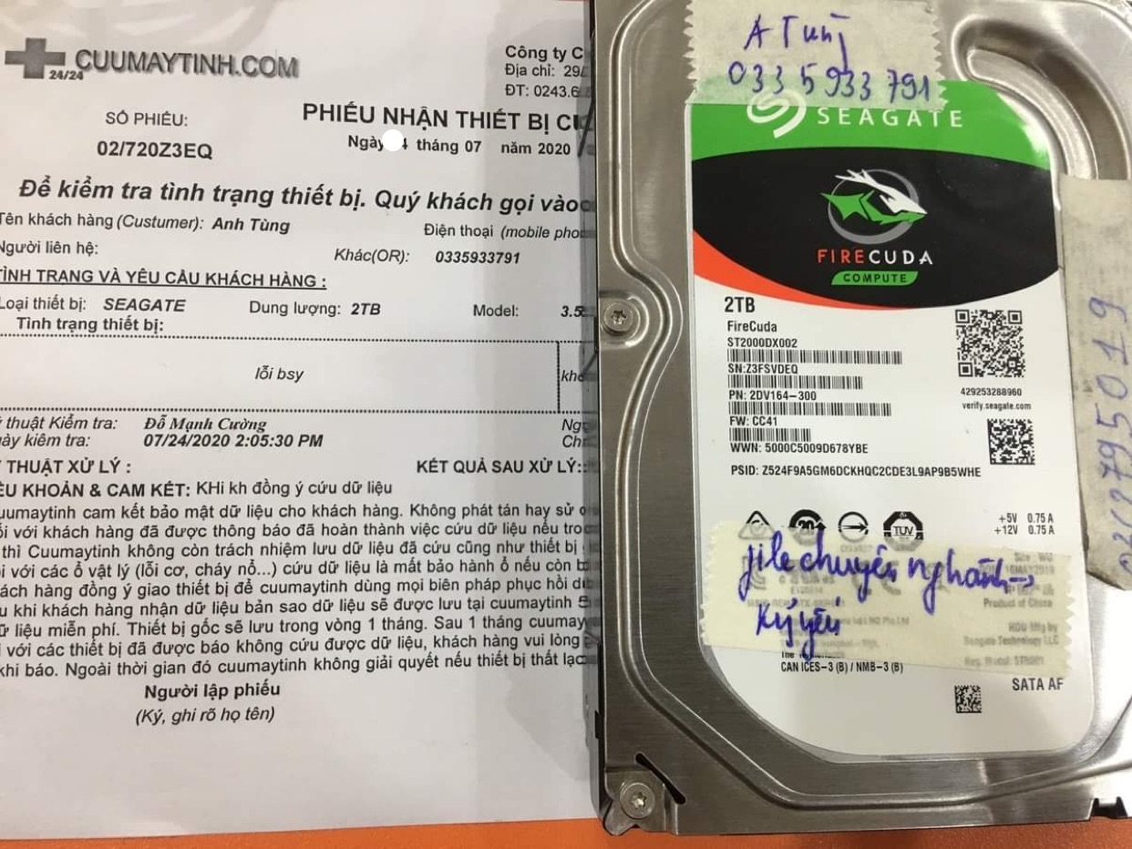 Cứu dữ liệu ổ cứng Seagate 2TB không nhận 29/07/2020 - cuumaytinh