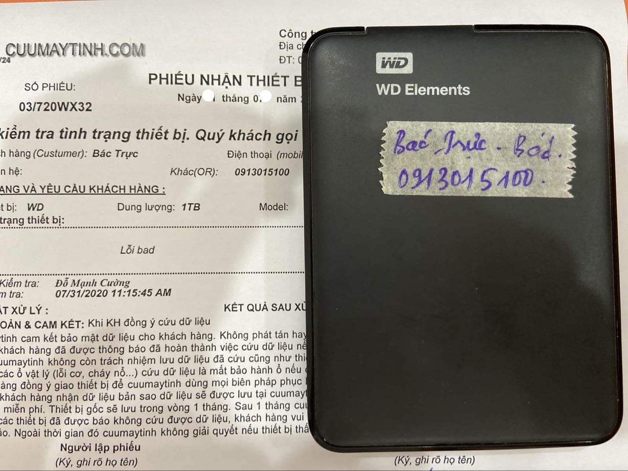Cứu dữ liệu ổ cứng Western 1TB bad 01/08/2020 - cuumaytinh