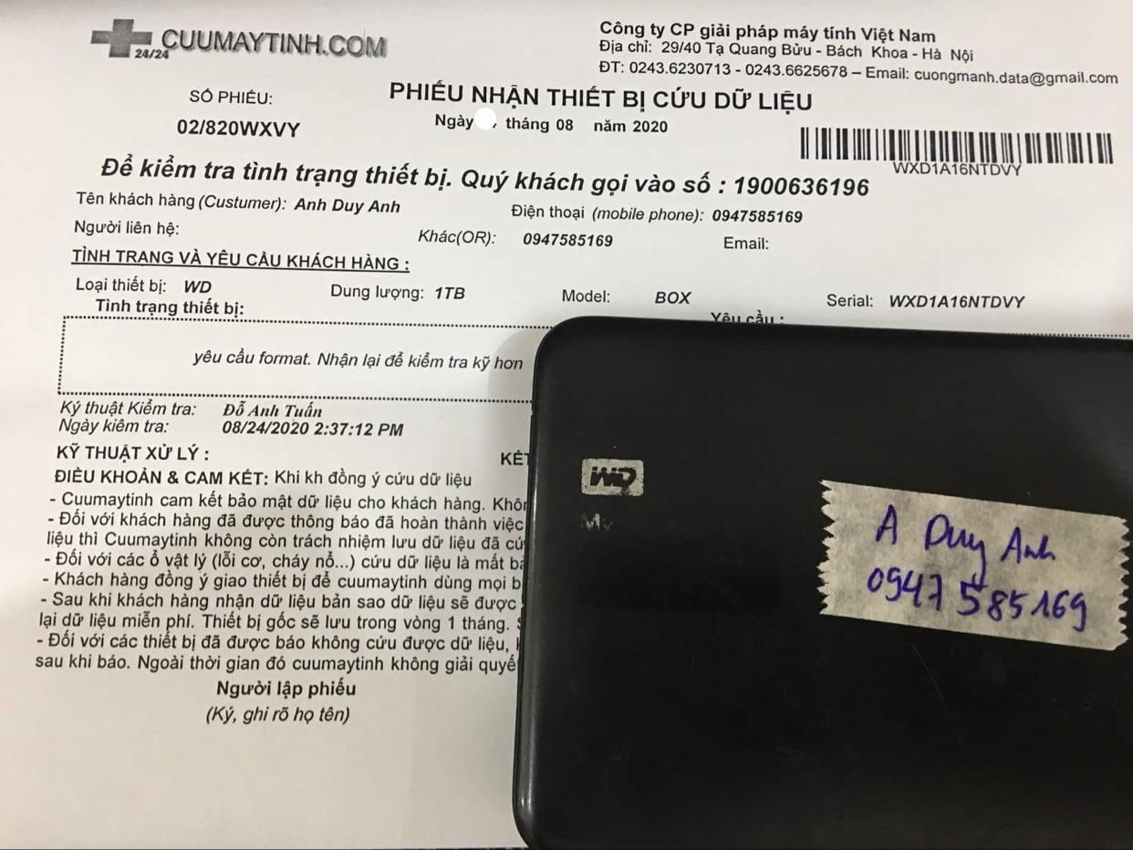 Cứu dữ liệu ổ cứng Western 1TB bad 27/08/2020 - cuumaytinh