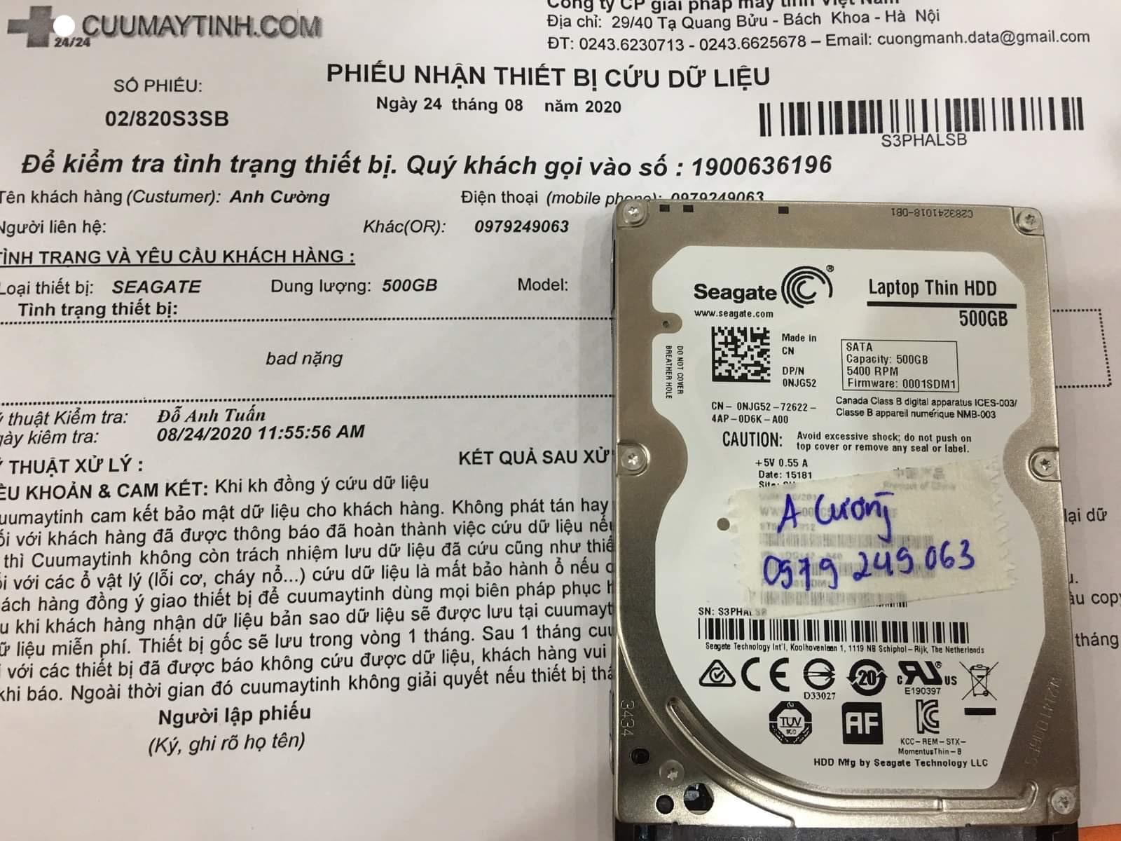 Khôi phục dữ liệu ổ cứng Seagate 500GB bad 24/08/2020 - cuumaytinh