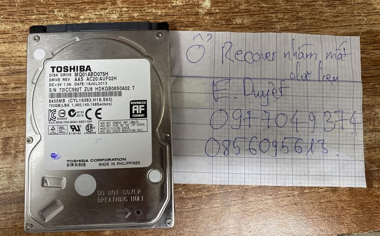 Khôi phục dữ liệu ổ cứng Toshiba 750GB bad 30/07/2020 - cuumaytinh
