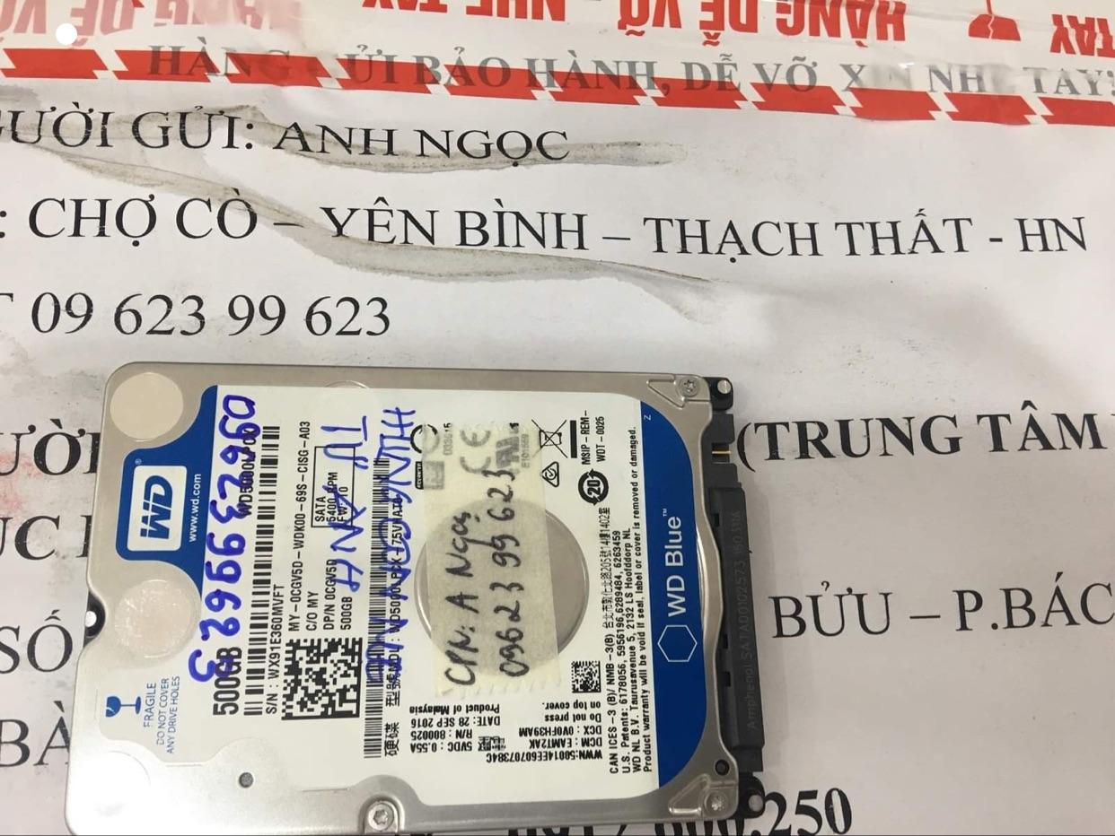 Khôi phục dữ liệu ổ cứng Western 500GB lỗi cơ tại Phú Thọ 31/07/2020 - cuumaytinh