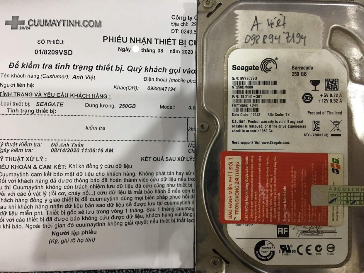 Lấy dữ liệu ổ cứng Seagate 250GB lỗi cơ 24/08/2020 - cuumaytinh