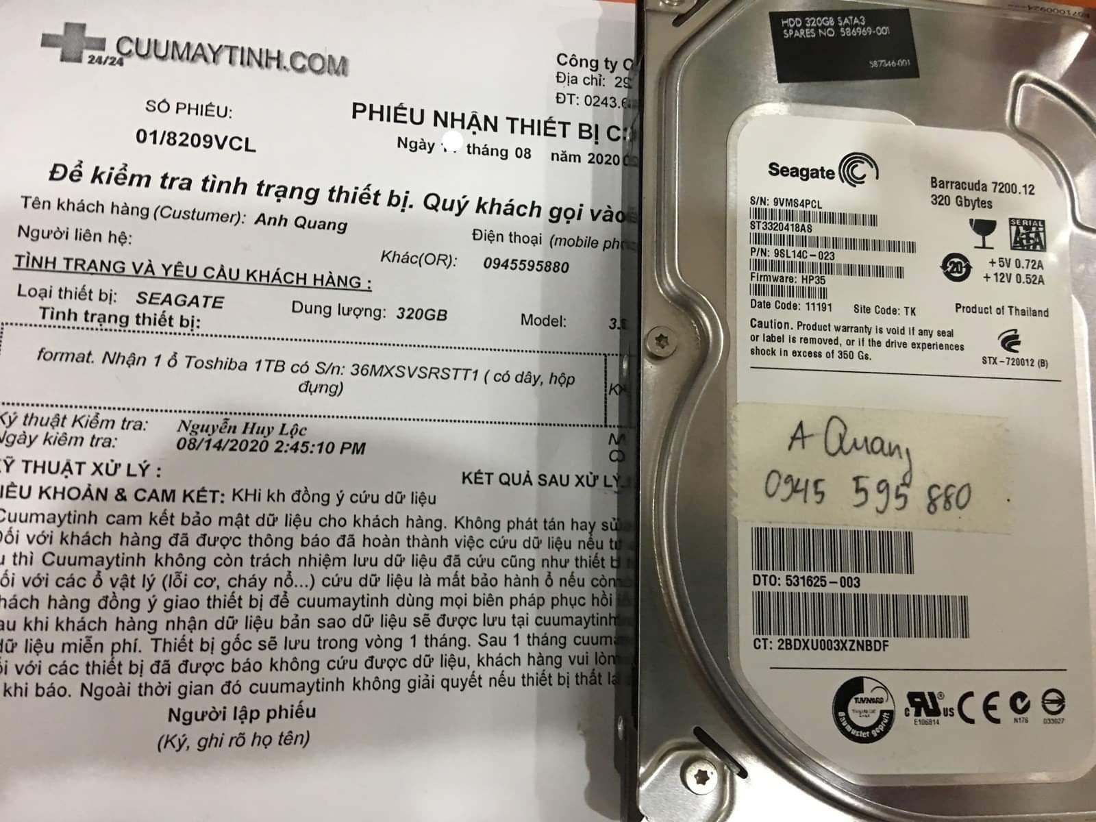 Lấy dữ liệu ổ cứng Seagate 320GB mất dữ liệu 14/08/2020 - cuumaytinh